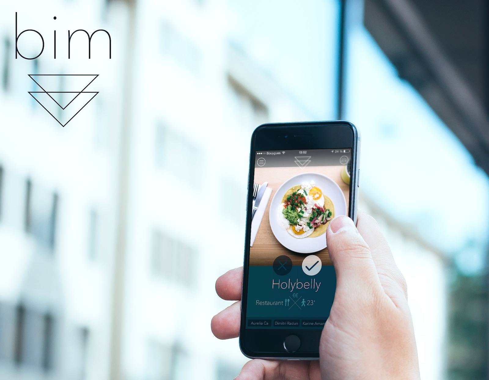 The Five Best Apps for Food-Lovers in Paris like Bim, will help you find great local places to eat and drink like the coffee shop Holybelly, a local favorite, which comes up on the screen of the phone in this photo.