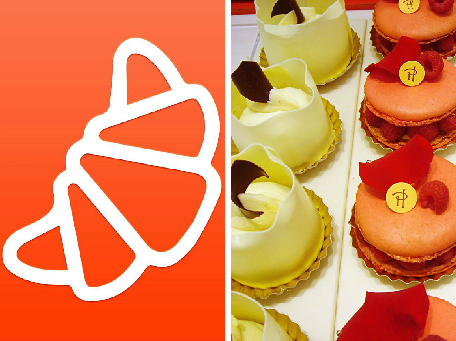 The Five Best Apps for Food-Lovers in Paris which will help you find the best croissants (left) and patisseries like at Pierre Hermé (right).