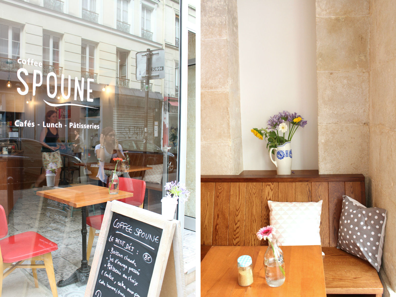 HiP Paris blog. Coffee Spoune. Adorable entrance, cozy seating.