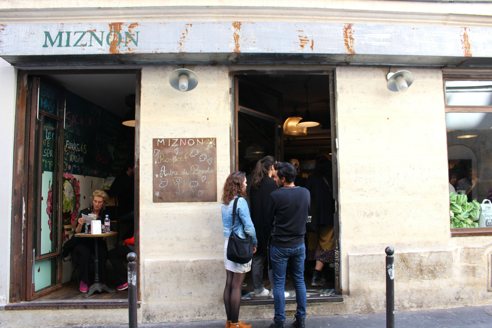 HiP Paris blog. Miznon. Line out the door at midday.