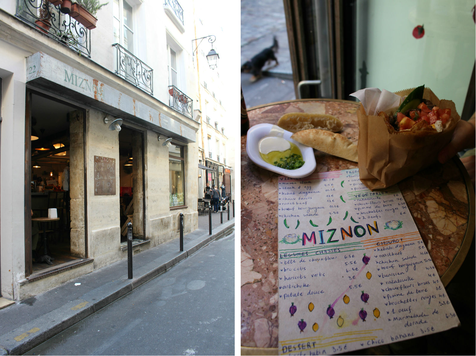 HiP Paris blog. Miznon. Just off the rue des Rosiers and featuring hand-written menus.