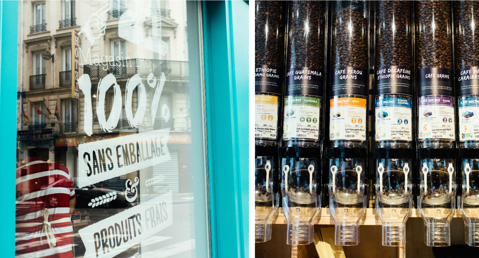 HiP Paris blog. BioCoop 21, Paris' first bag-free organic bulk shop. No wasteful packaging to ruin delicious fair trade coffee.