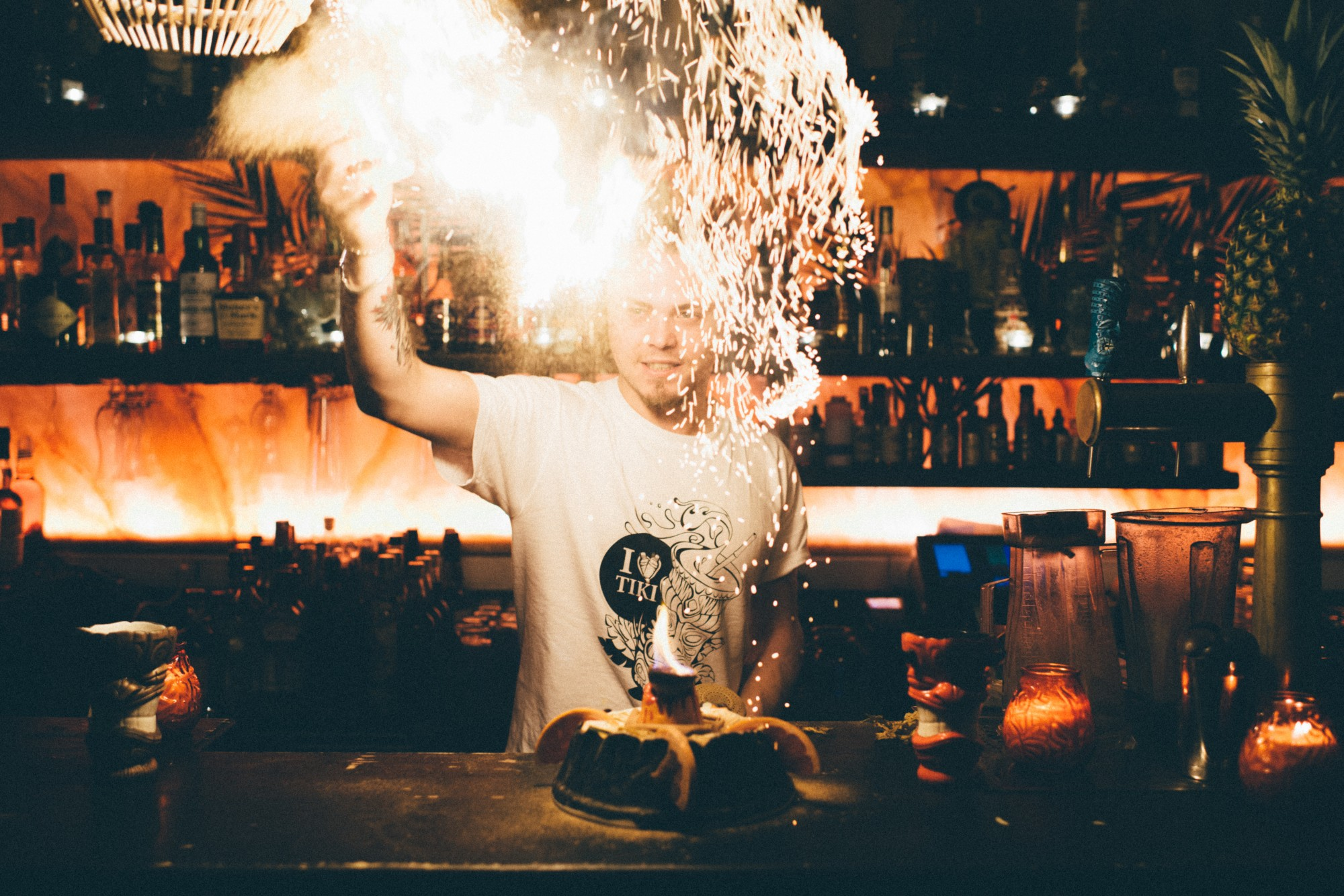 HiP Paris blog. The 3 most outrageous cocktails in Paris. Sparks fly even behind the bar at Dirty Dick. Photo by Jean-Marie Heidinger.