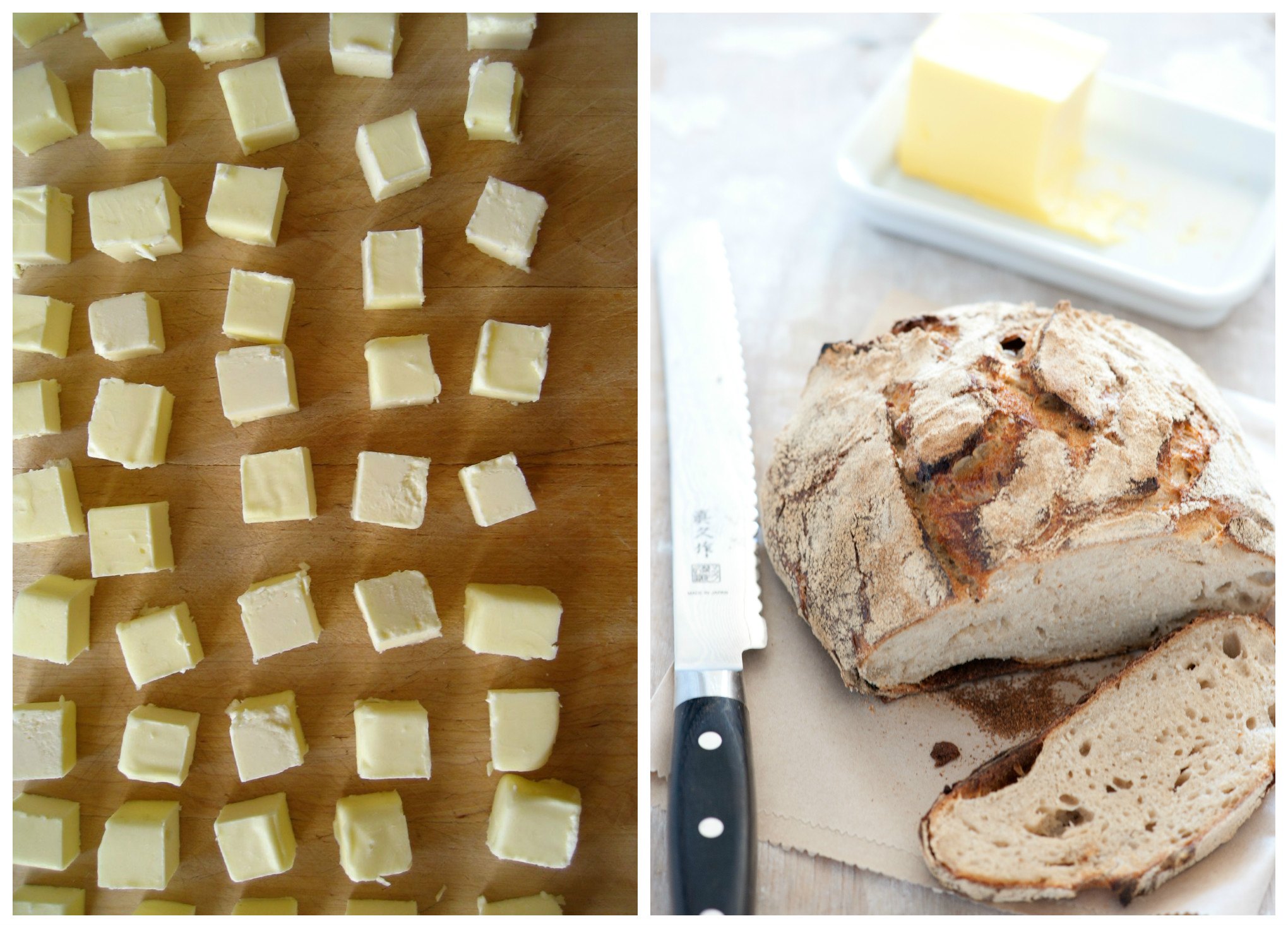 Why does French butter taste so good? Because it's homemade like these little squares (left) and spread on a rustic loaf of bread (right), it tastes even better.