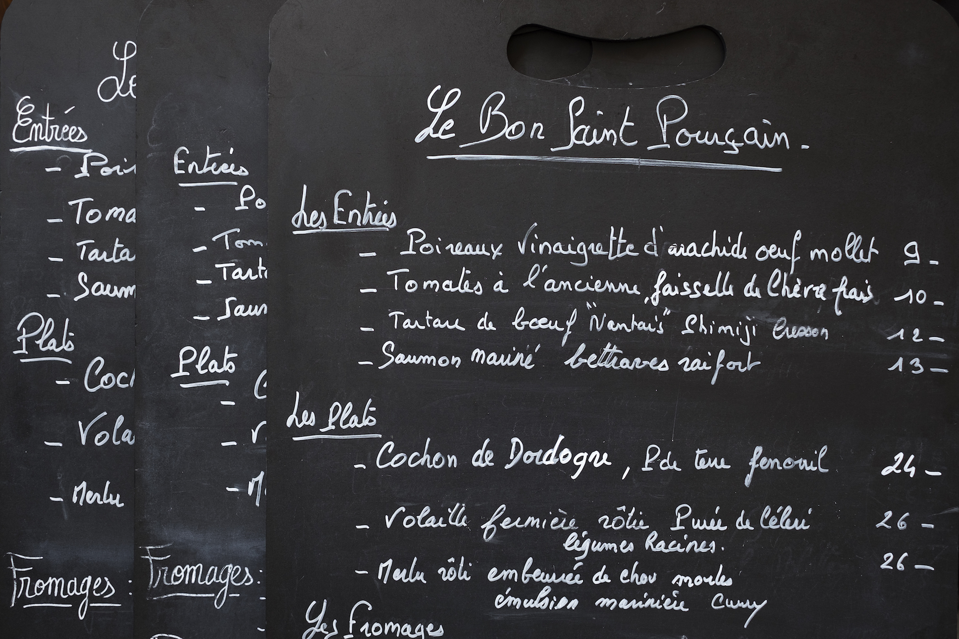 HiP Paris blog. Le Bon Saint Pourçain. The menu.