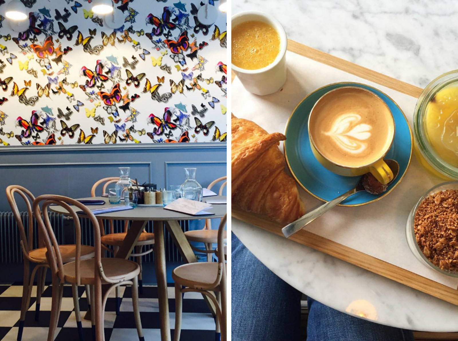 One of the best places to go for brunch in Paris is Hardware Sociéte in Montmartre, which has butterfly wallpaper and wooden tables and chairs (left) and does buttery croissants and coffee (right).