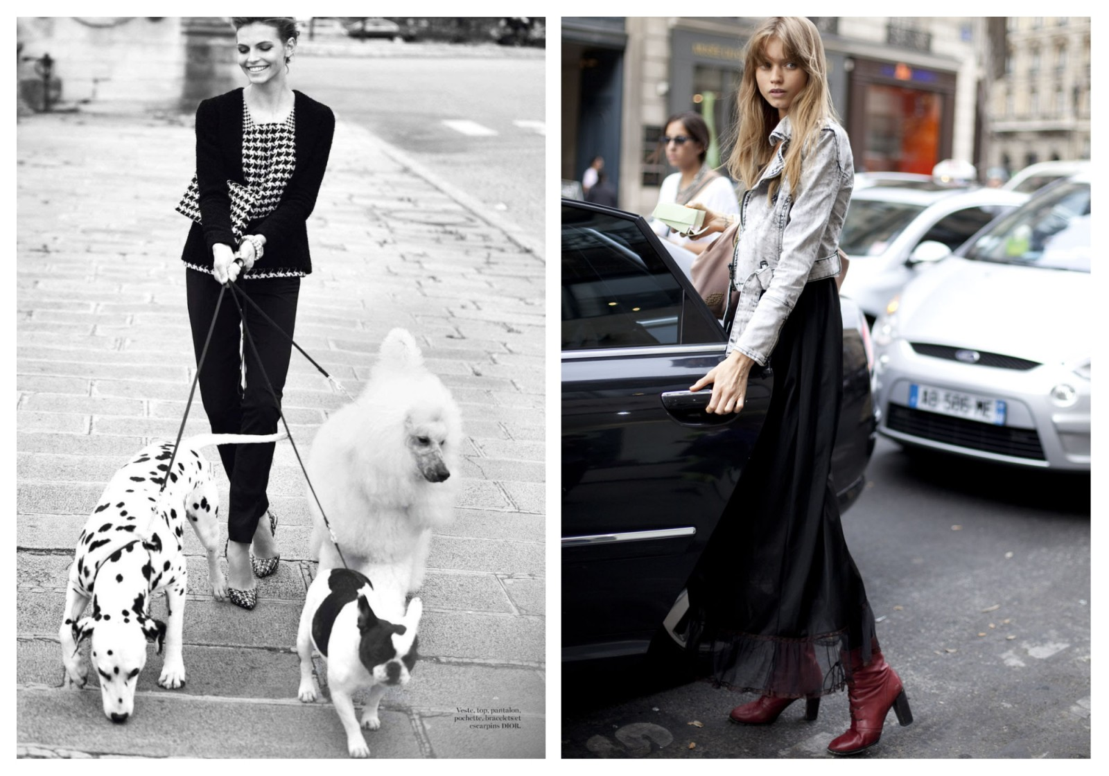 French Chic is all about decoding the Secrets of Paris Fashion, like this woman whose attire matches her three dogs as she walks them, smiling (left). Parisian woman aren't afraid to add a touch of fun like a red leather boot (right).
