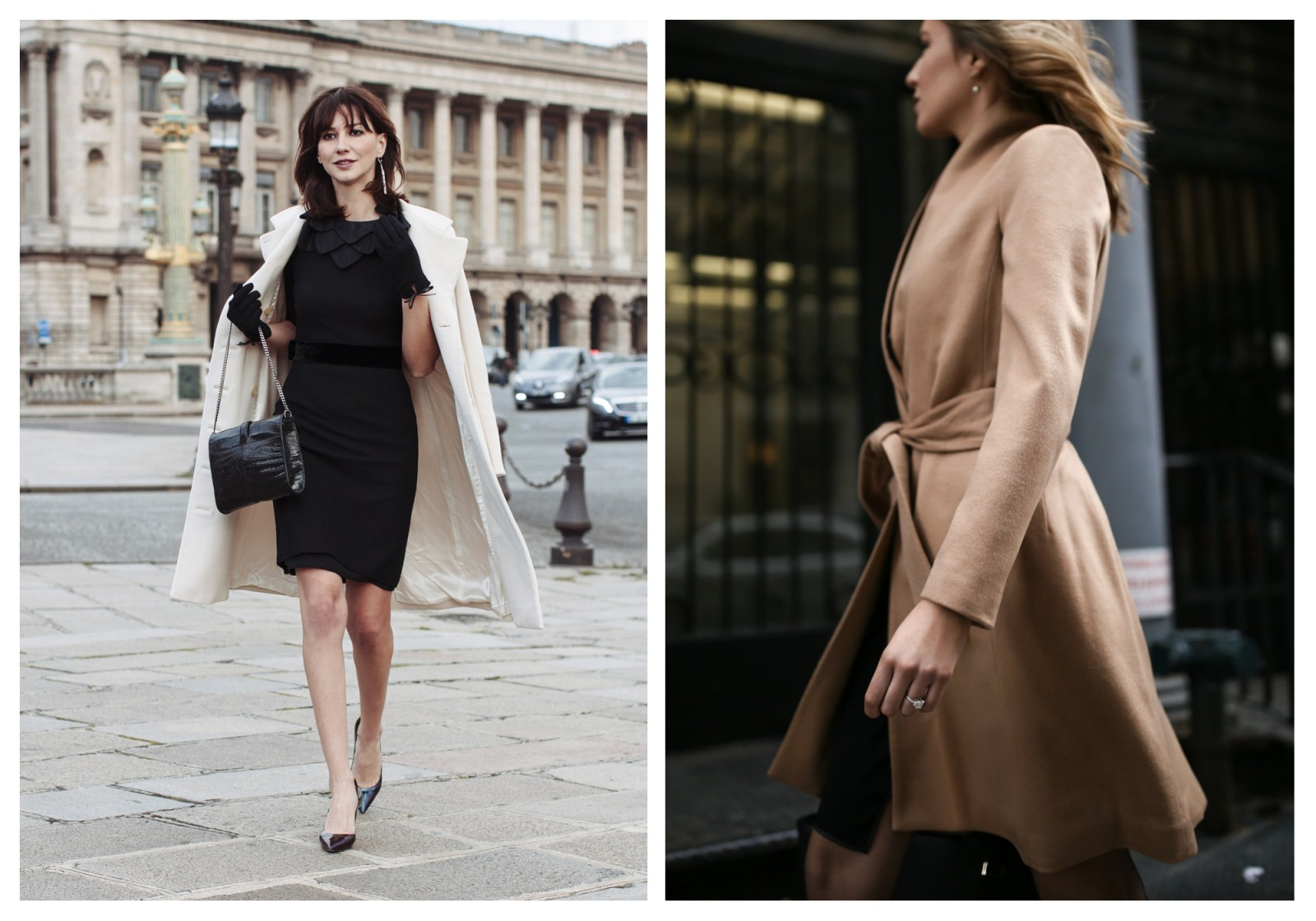 French Chic is all about decoding the Secrets of Paris Fashion, like this woman who wears a tailored dress with mini gloves and her cream coat like a cape (left). It's also about how you carry yourself, like this woman in a flowing camel wrap-around coat and holds her shoulders back (right).