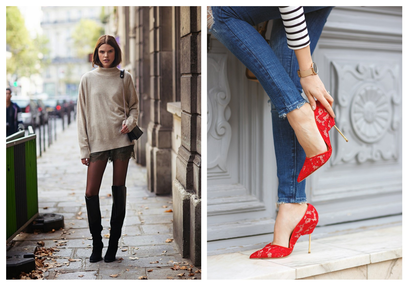 French Chic is all about decoding the Secrets of Paris Fashion, like this Parisian woman who wears a short skirt but with a baggy sweater so it doesn't look tarty (left). French women are good at teaming casual jeans with high heels like these red one with a gold stiletto heel (right).