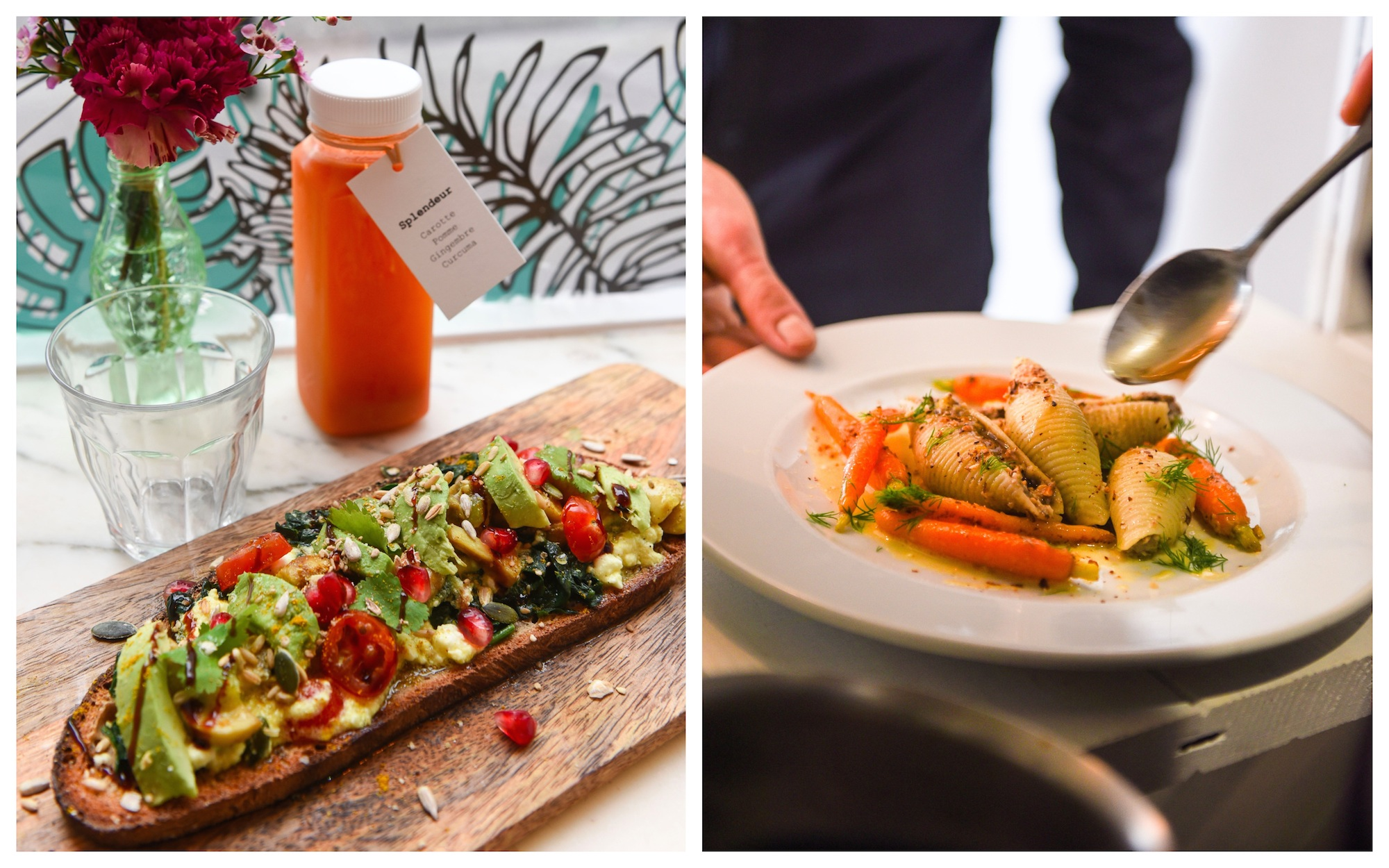 Vegan avocado toast and detox juice at vegan restaurant Abattoir Végétal (left) and vegetable hotpot (right).