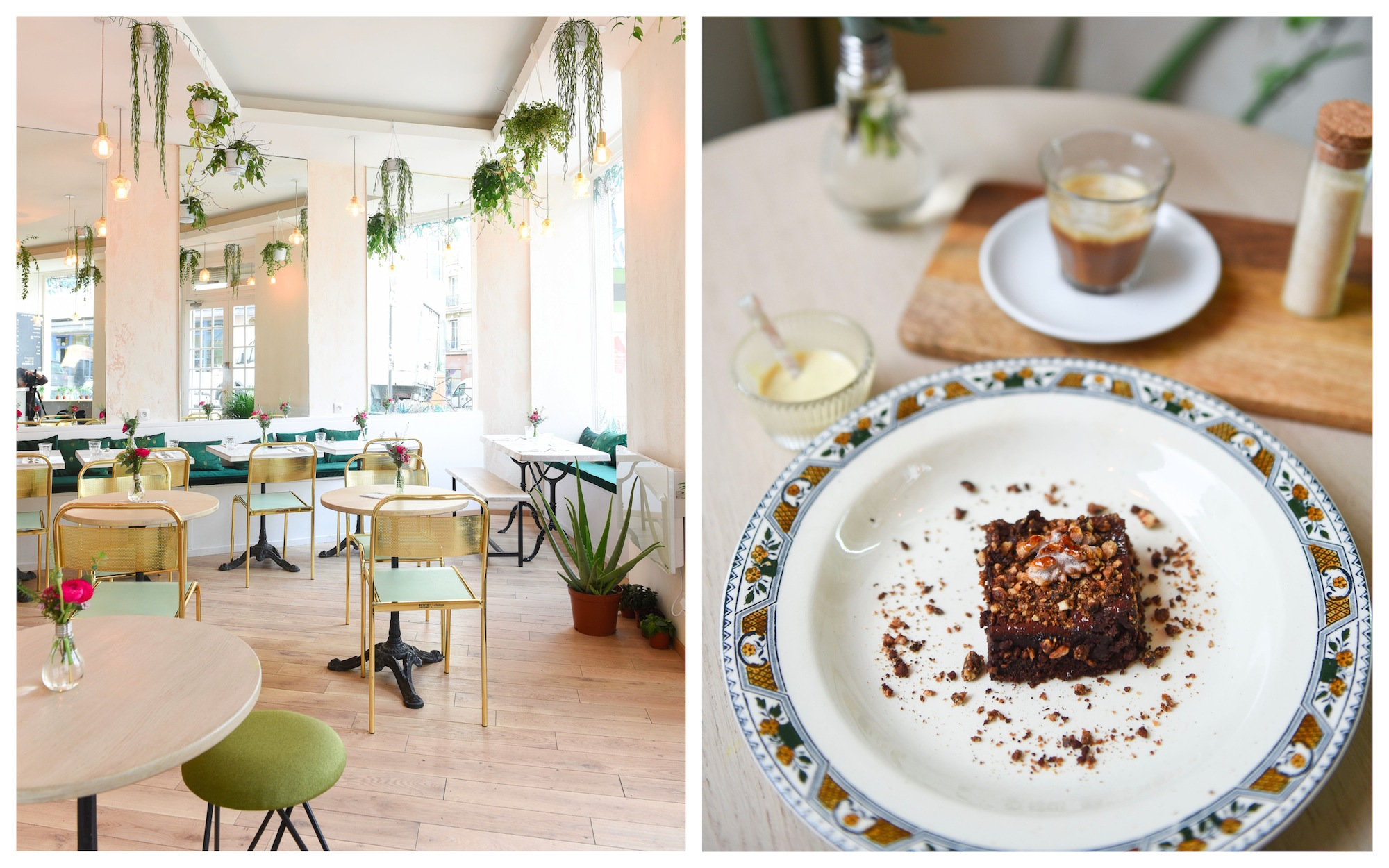 Vegan coffee shop in Paris near Montmartre is Abattoir Végétal, which does a great brunch in bright and light surroundings (left). Don't miss the wicked chocolate brownie with cream and coffee (right).