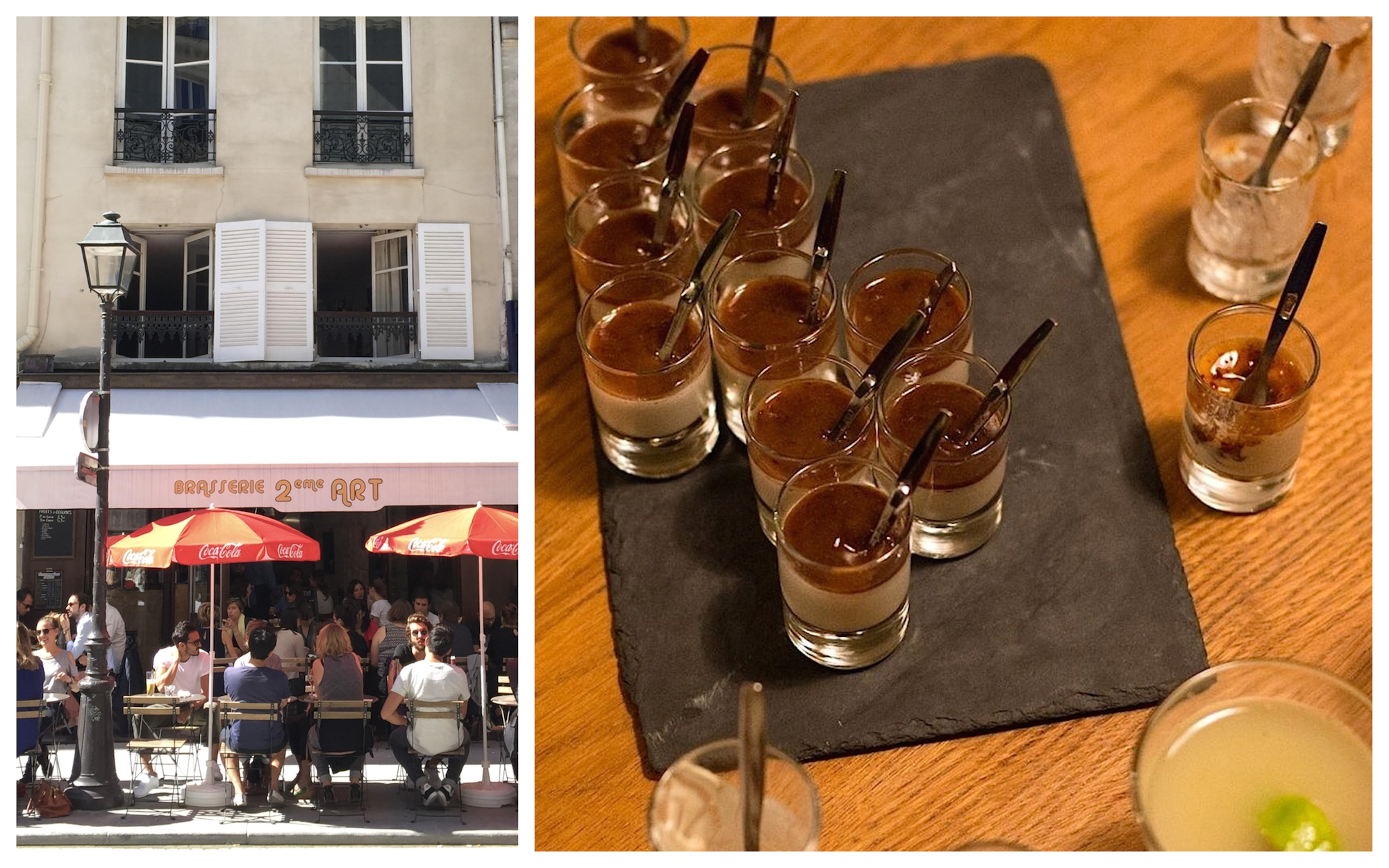 The best vegan restaurants for French food, like Brasserie 2ème art with its sunny terrace (left) and Niébé, which offers tasty homemade chocolate desserts (right).