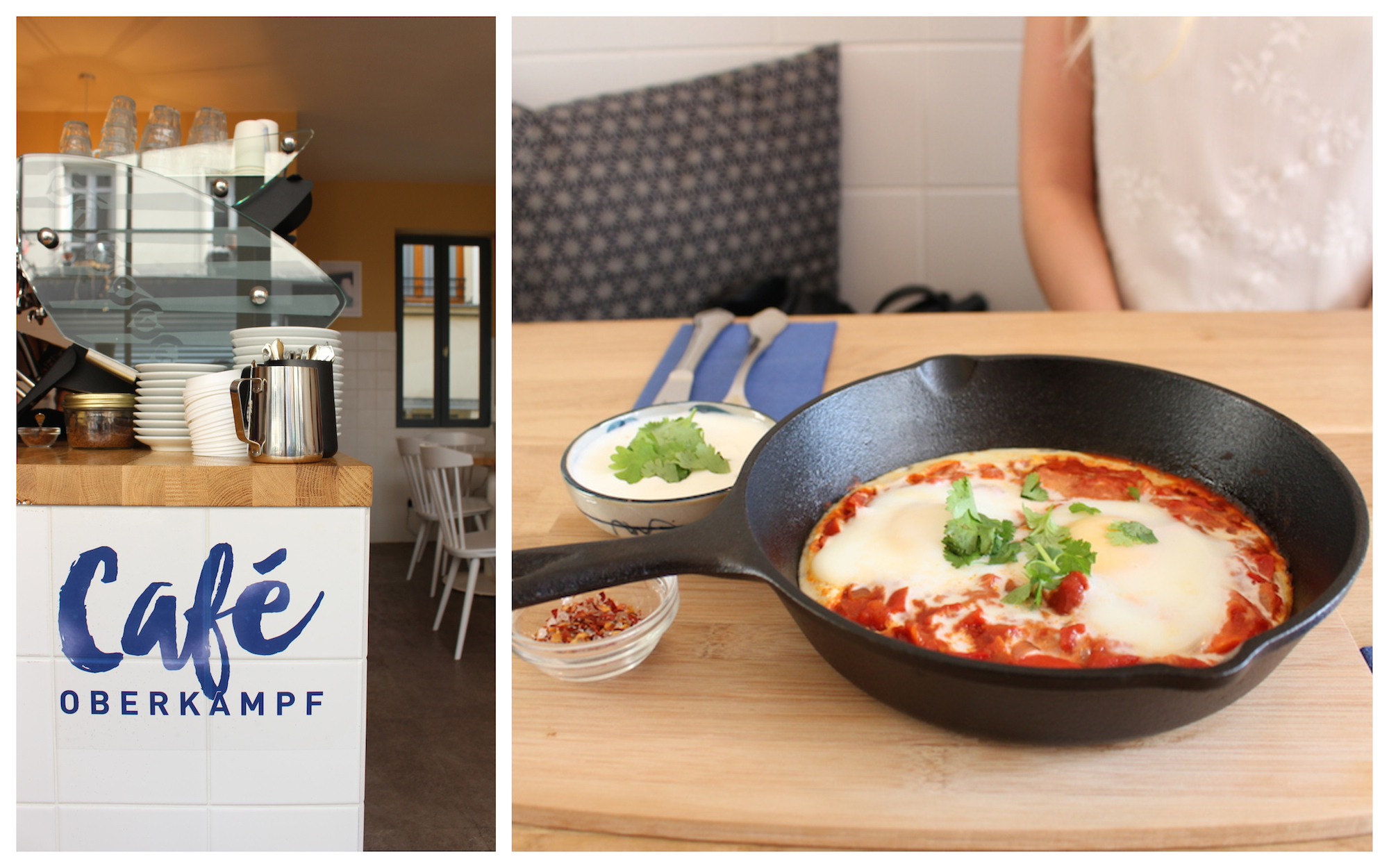 HiP Paris Blog rounds up the top brunch spots in Paris like Café Oberkampf for the coffee (left) and shakshuka served in a pan (right).
