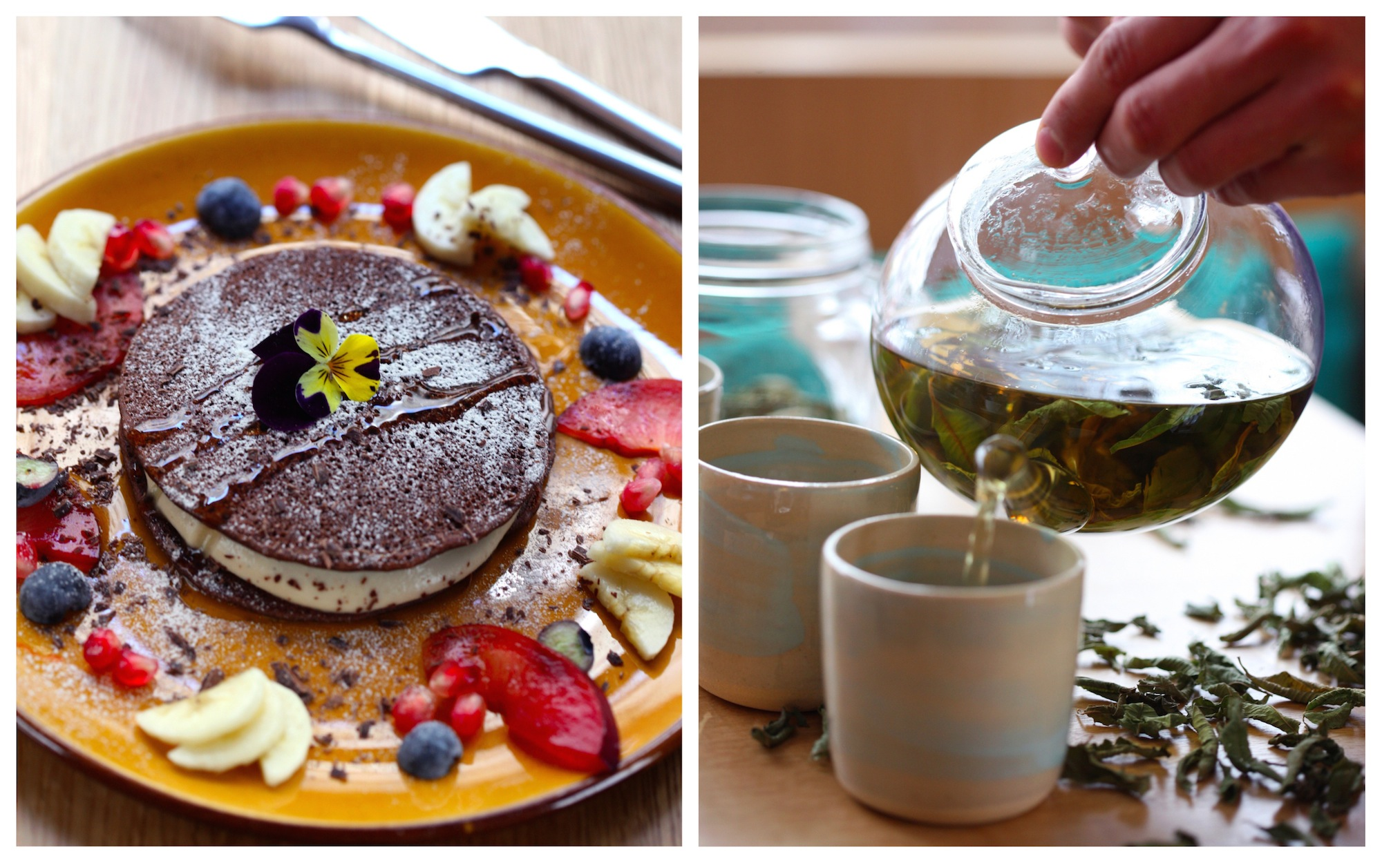 Veggie Magnifique round up of the top vegan spots in Paris for HiP Paris Blog like Le Potager de Charlotte for its chocolate cakes (left) and herbal teas (right).
