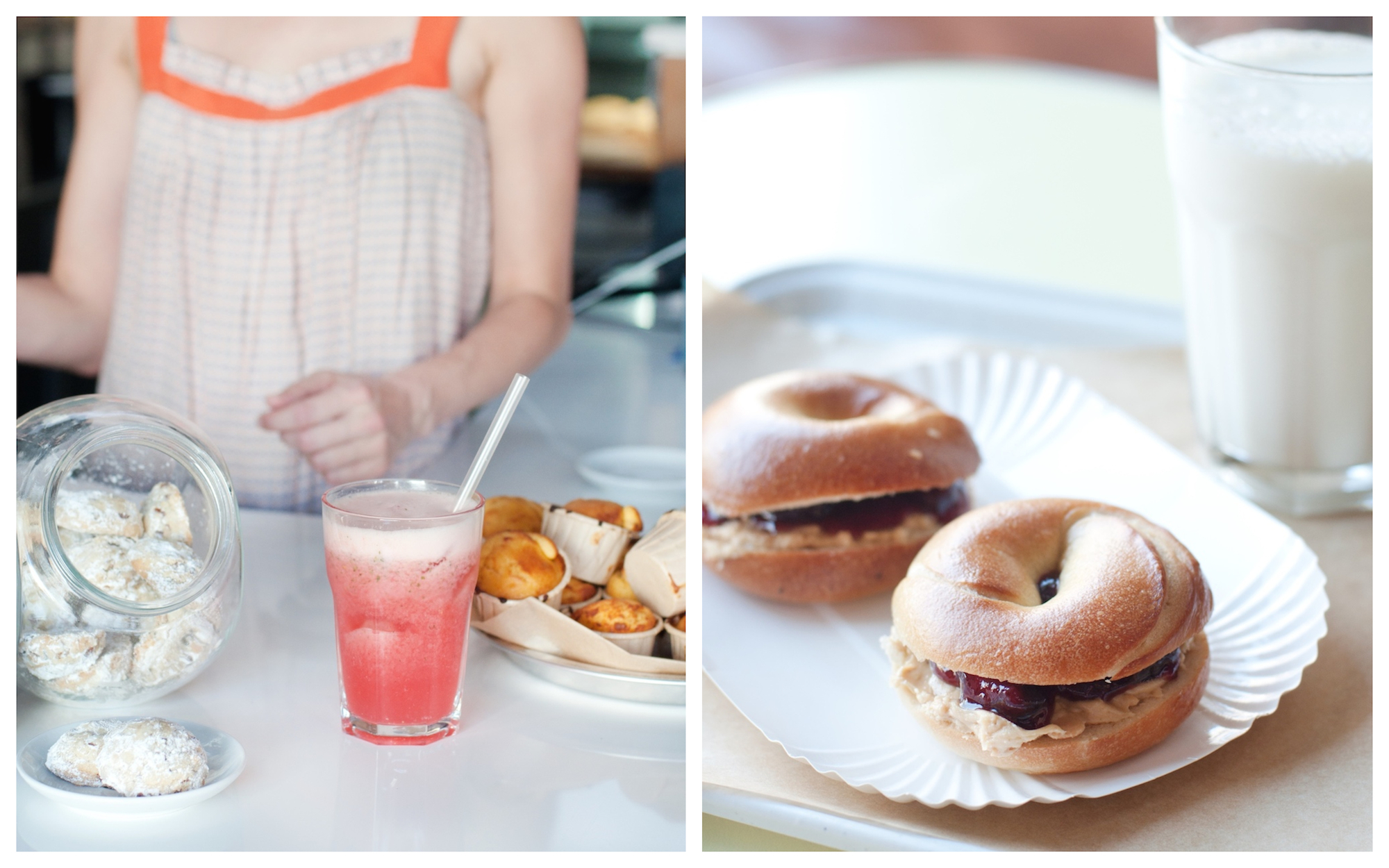 HiP Paris Blog rounds up the top brunch spots in Paris like Bob's Bakeshop for its fresh fruit juices and cakes (left) and the delicious breakfast bagels (right).