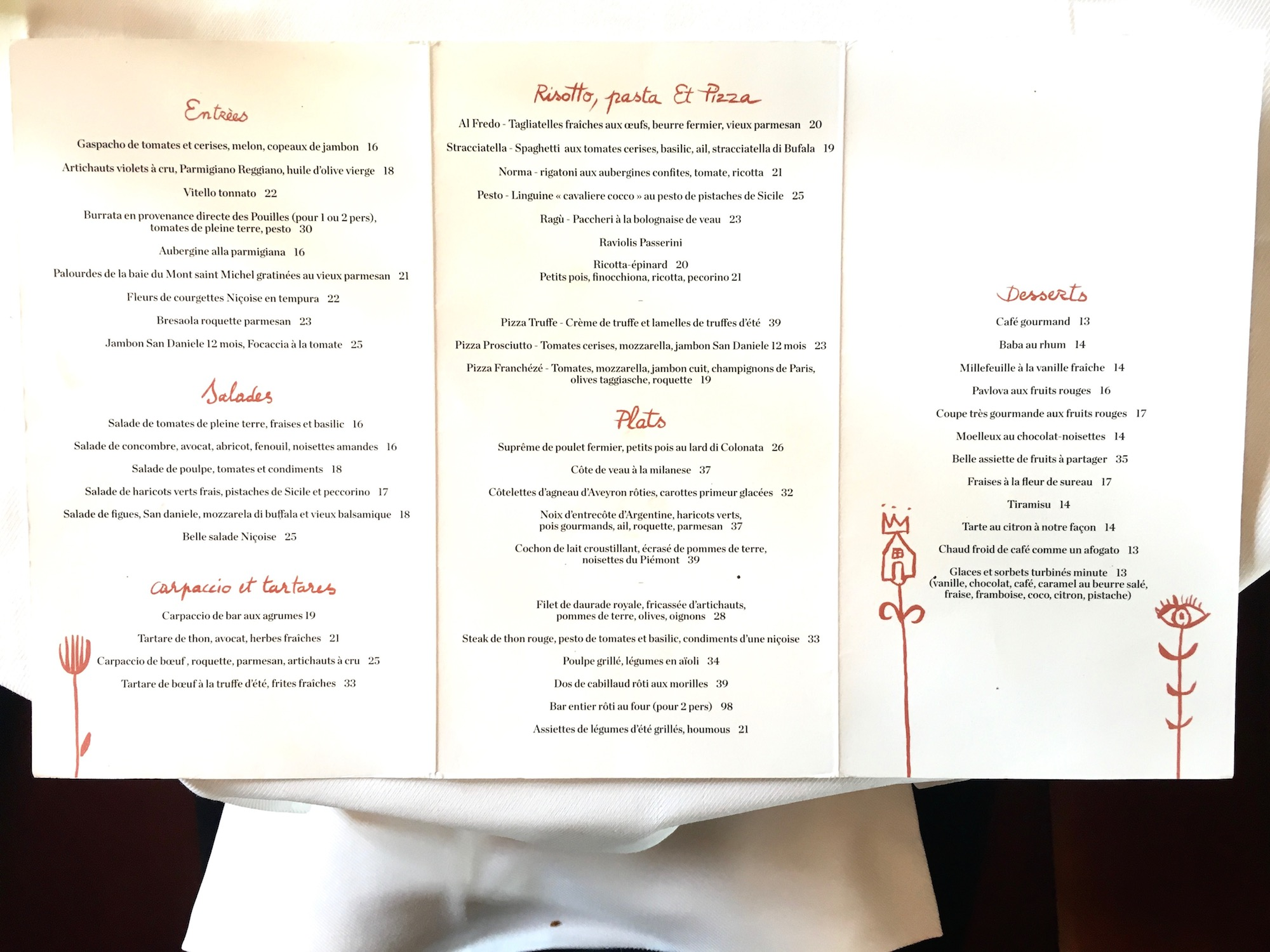 Loulou restaurant is the place to go for Mediterranean food in Paris, as you can see from the menu.