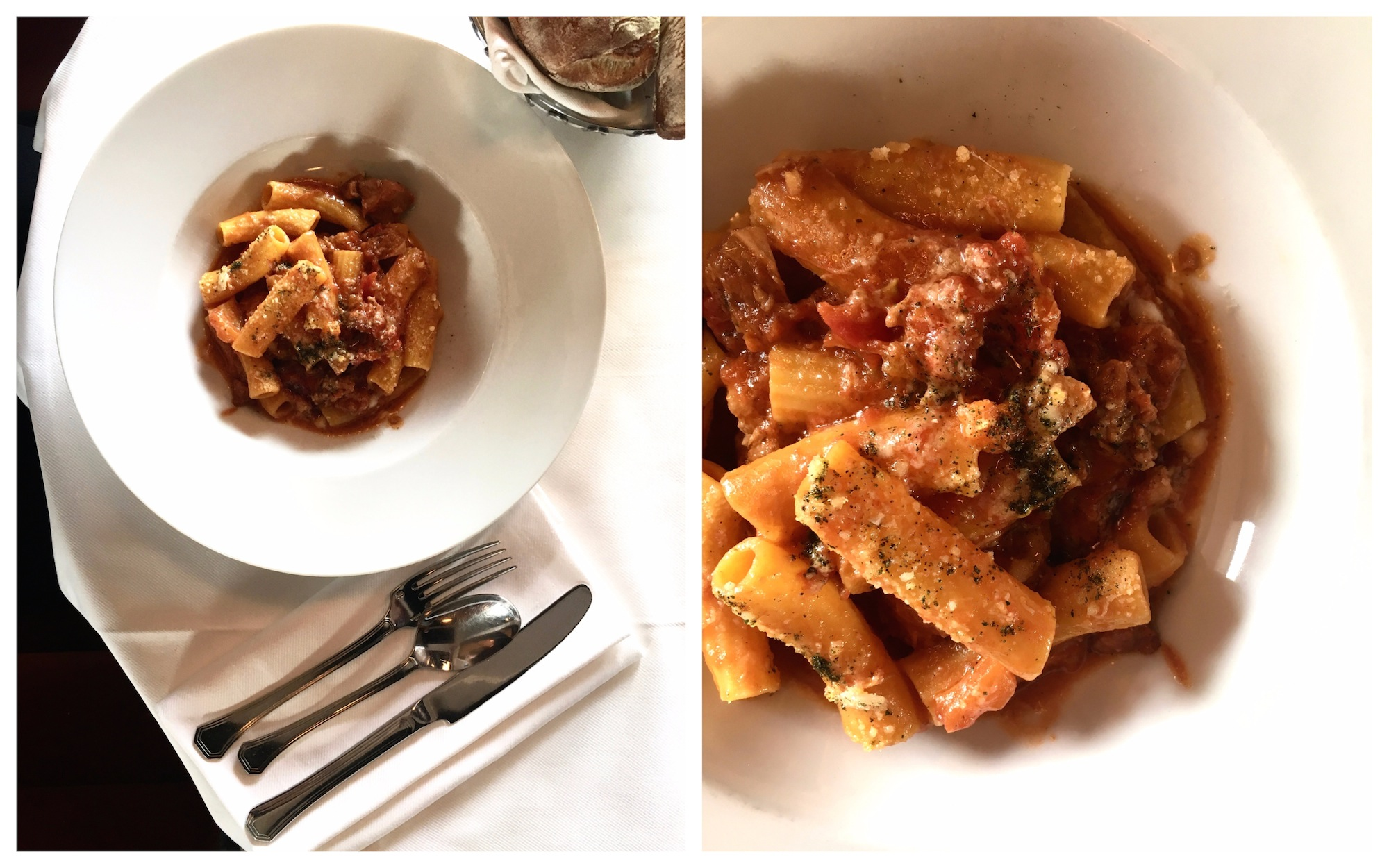 The fresh Sicilian tomato and parmesan pasta at Loulou restaurant in Paris is delicious.