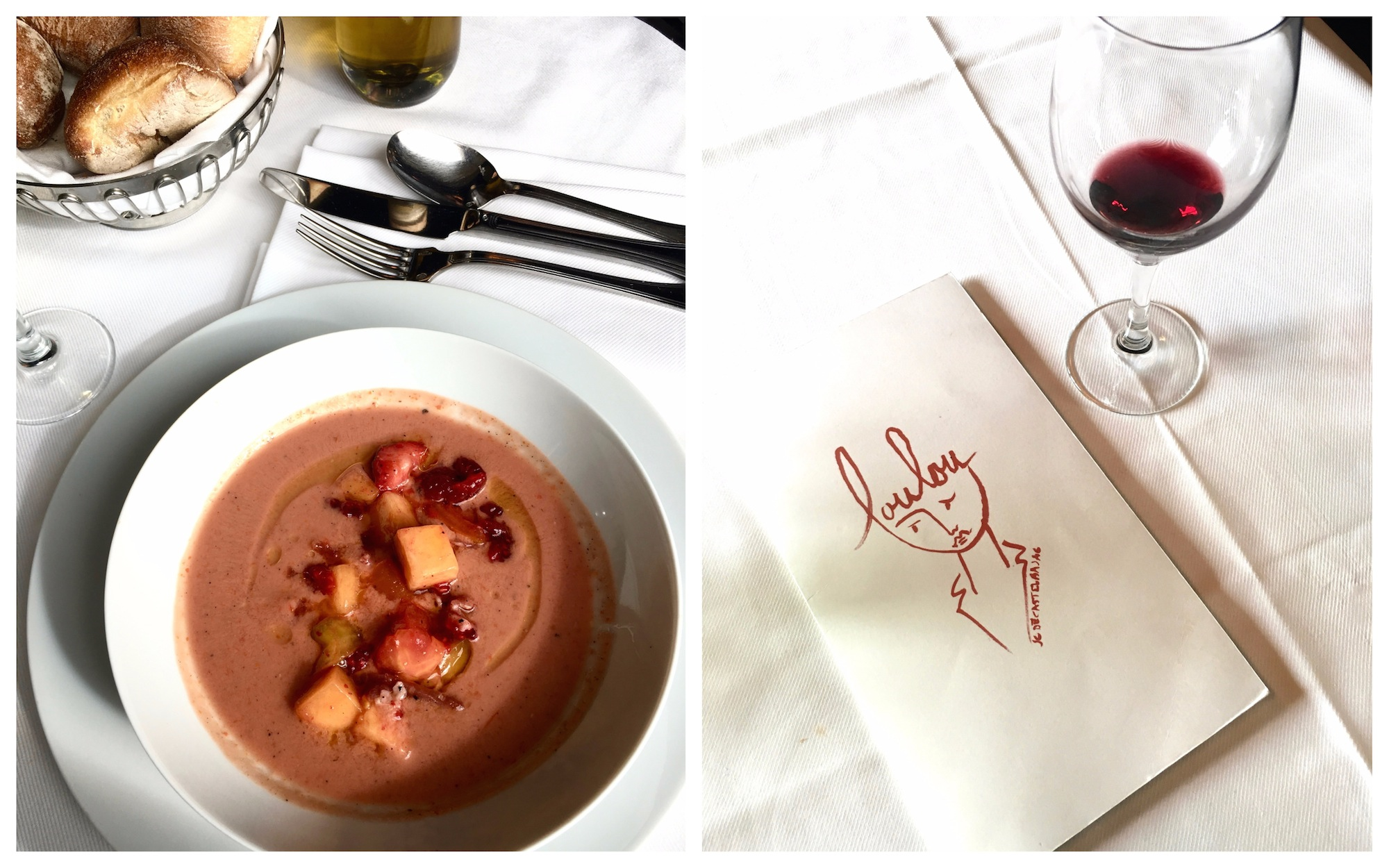 A fruit dessert at Loulou restaurant in Paris (left) and the menu with an empty glass of wine (right).