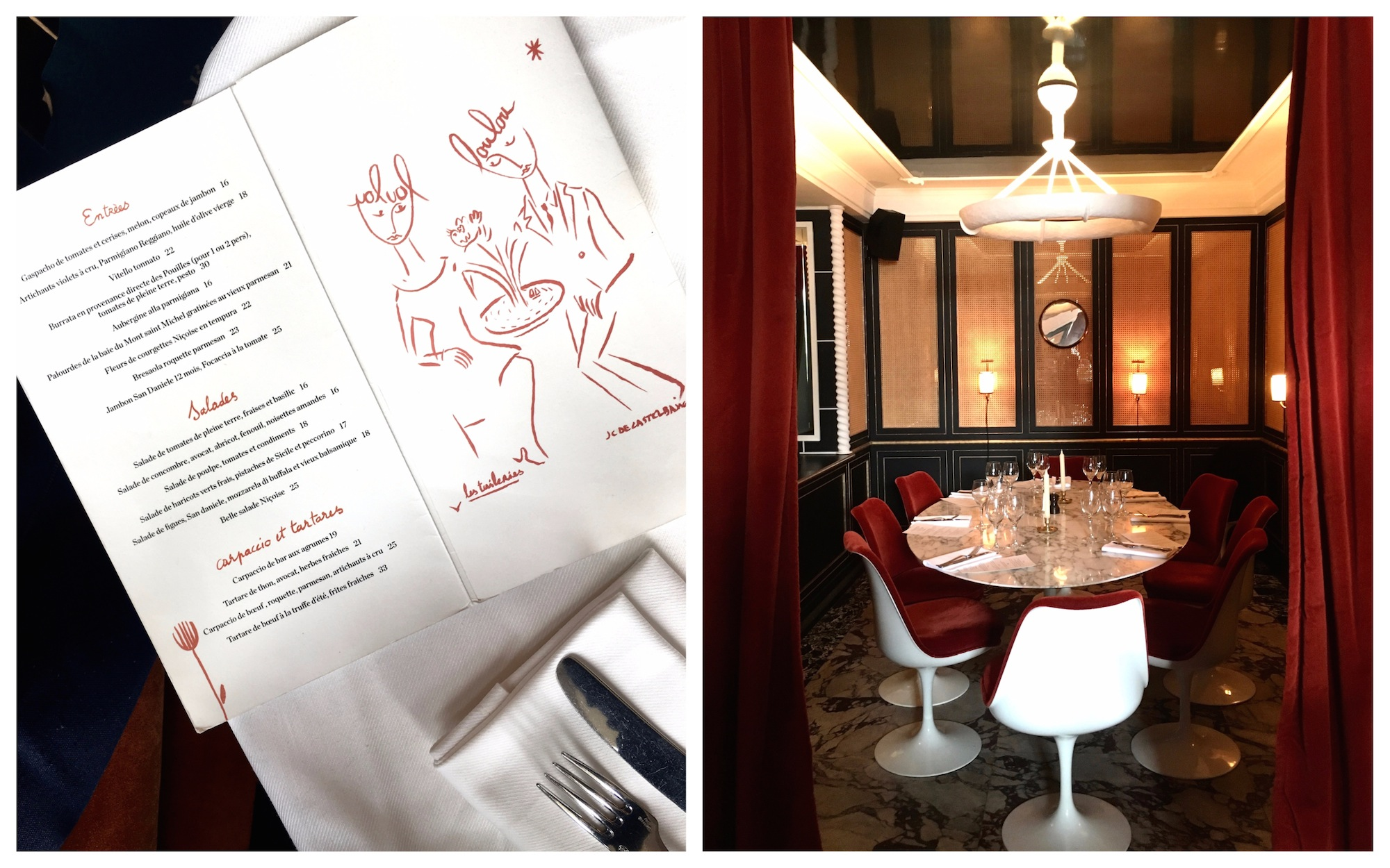 An open menu of French food at LOULOU restaurant in Paris' Musée des Arts Décoratifs (left). The private dining space for 8 people with touches of red and white (right).