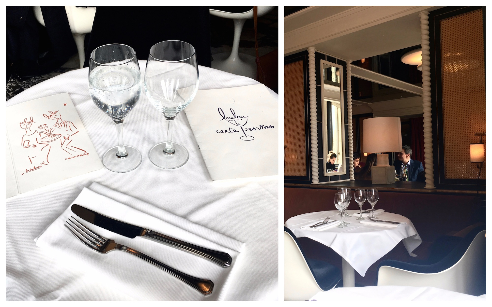 The menus on a table with a white tablecloth and glasses of sparkling water (left) and a corner table (right) at Loulou restaurant in Paris.