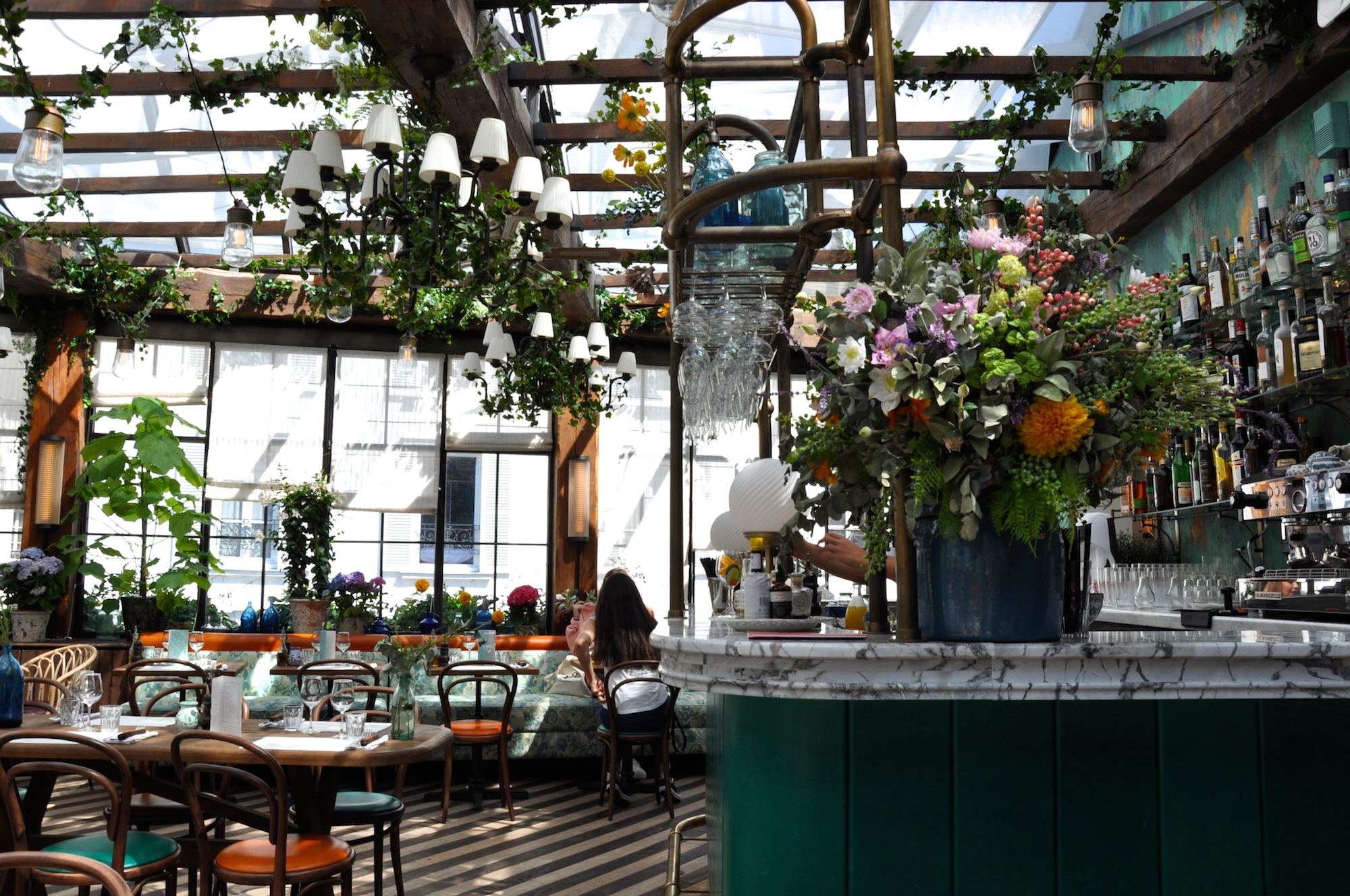The Big Mamma Group offers Trendy, Fresh, Authentic Italian Dining in Paris in several smart locations like Pink Mamma in South Pigalle which comes with a glass roof and lots of plants and fresh flowers.