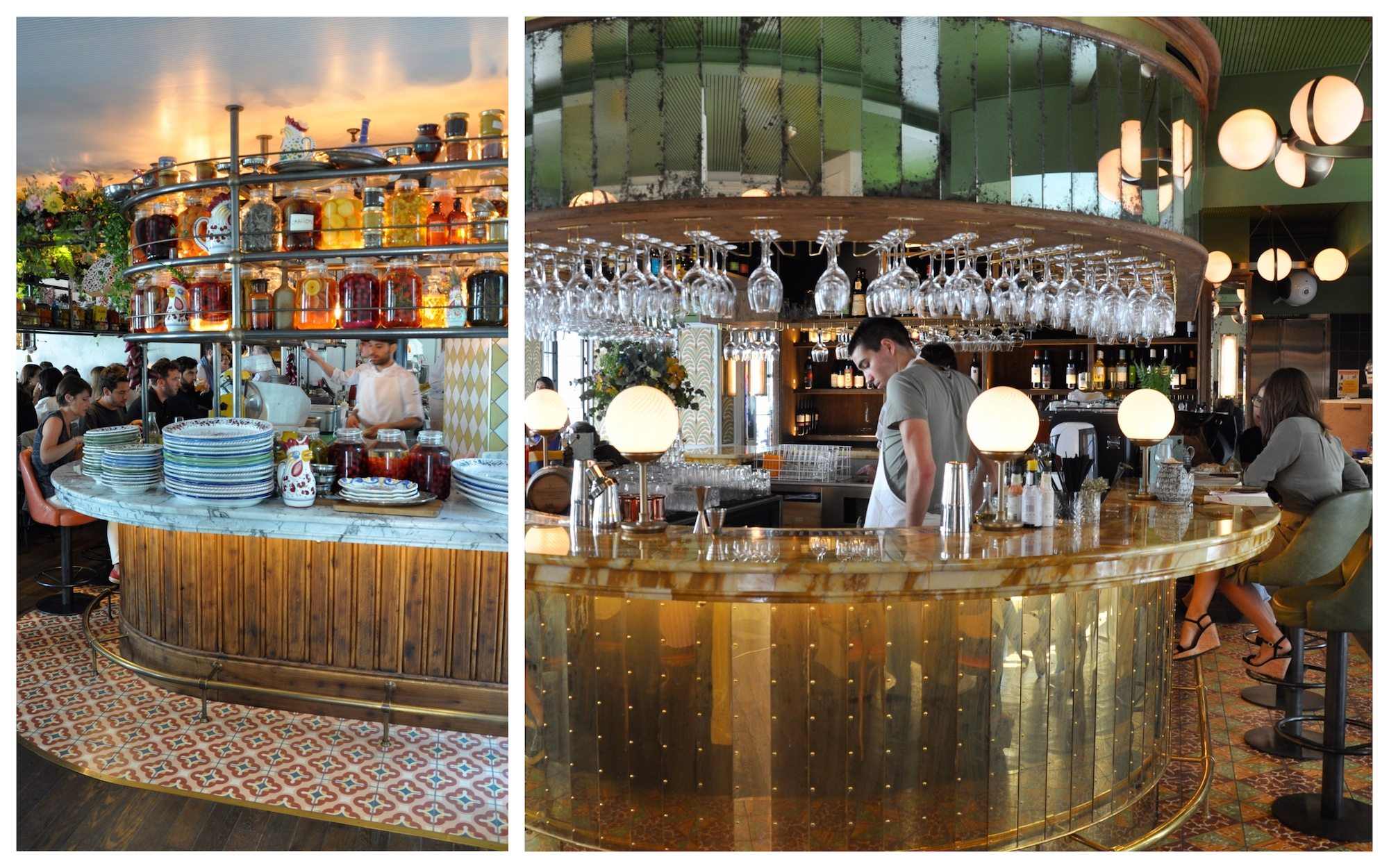 The Big Mamma Group offers Trendy, Fresh, Authentic Italian Dining in Paris with cool interiors like this one with a round brass cocktail bar in the middle.