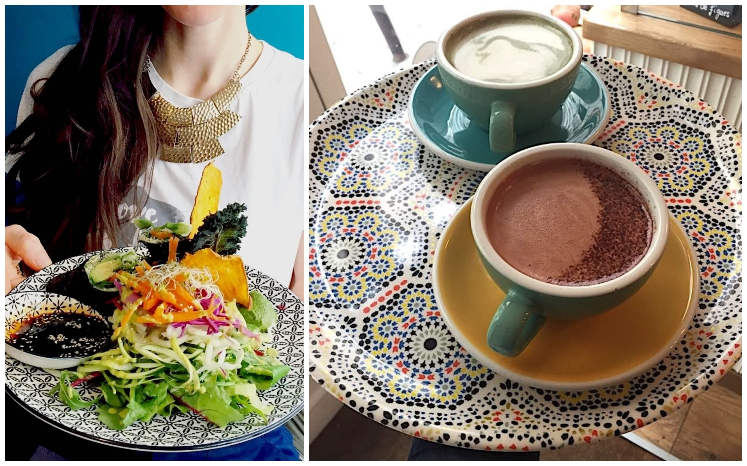 A fresh gluten-free salad at a restaurant in Paris on a mosaic plate being held by a girl (left). Gluten-free hot chocolate and coffee on a mosaic tray (right).