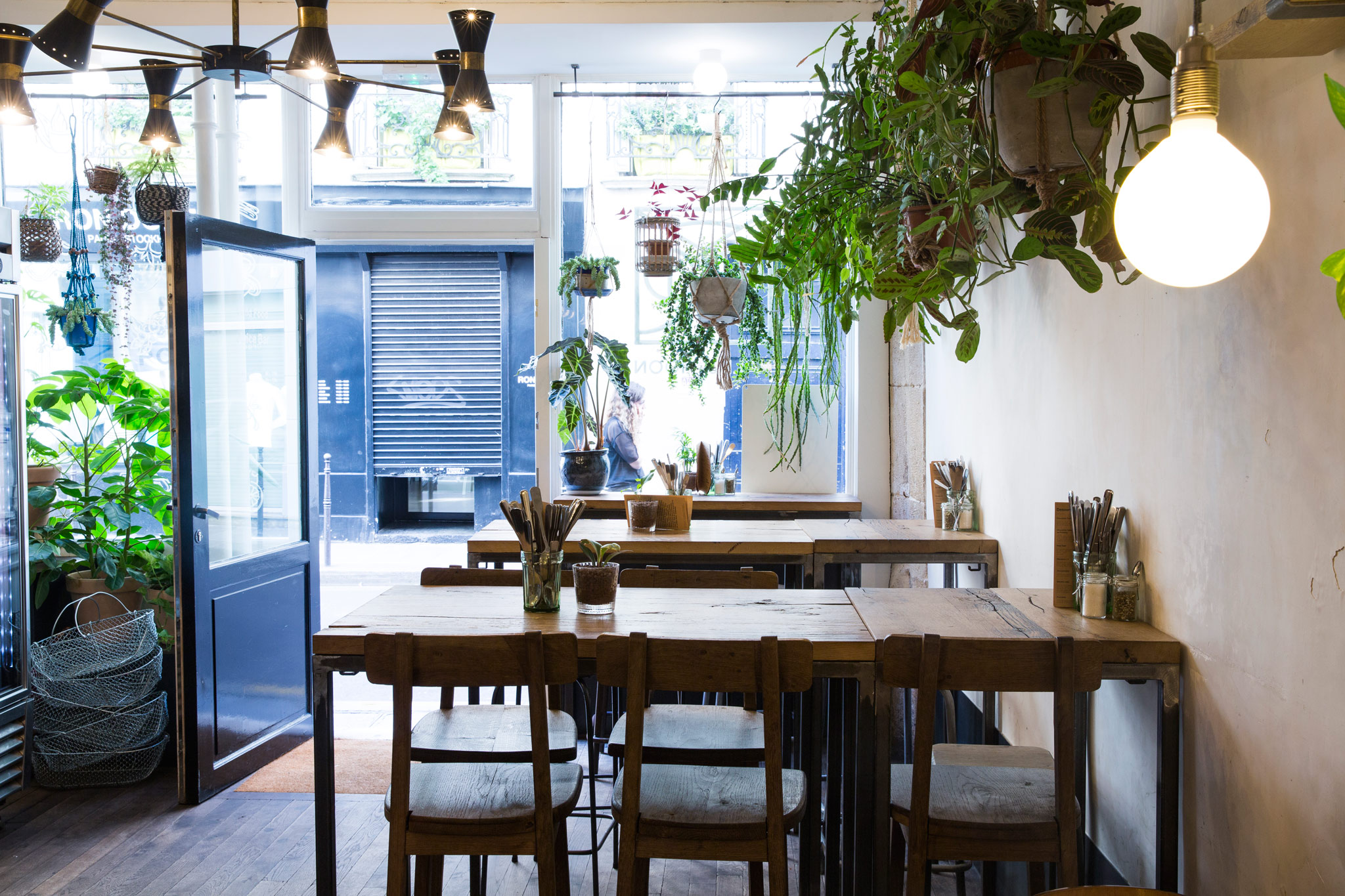 HiP Paris' guide to gluten-free restaurants and bakeries in Paris, includes Wild and the Moon with its pretty rustic interiors and plants hanging from the ceiling.
