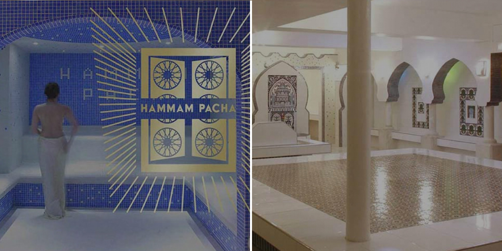 The best place to go for a hammam in Paris is Hammam Pacha for its blue tiled decor (left) and spacious steam room space (right).
