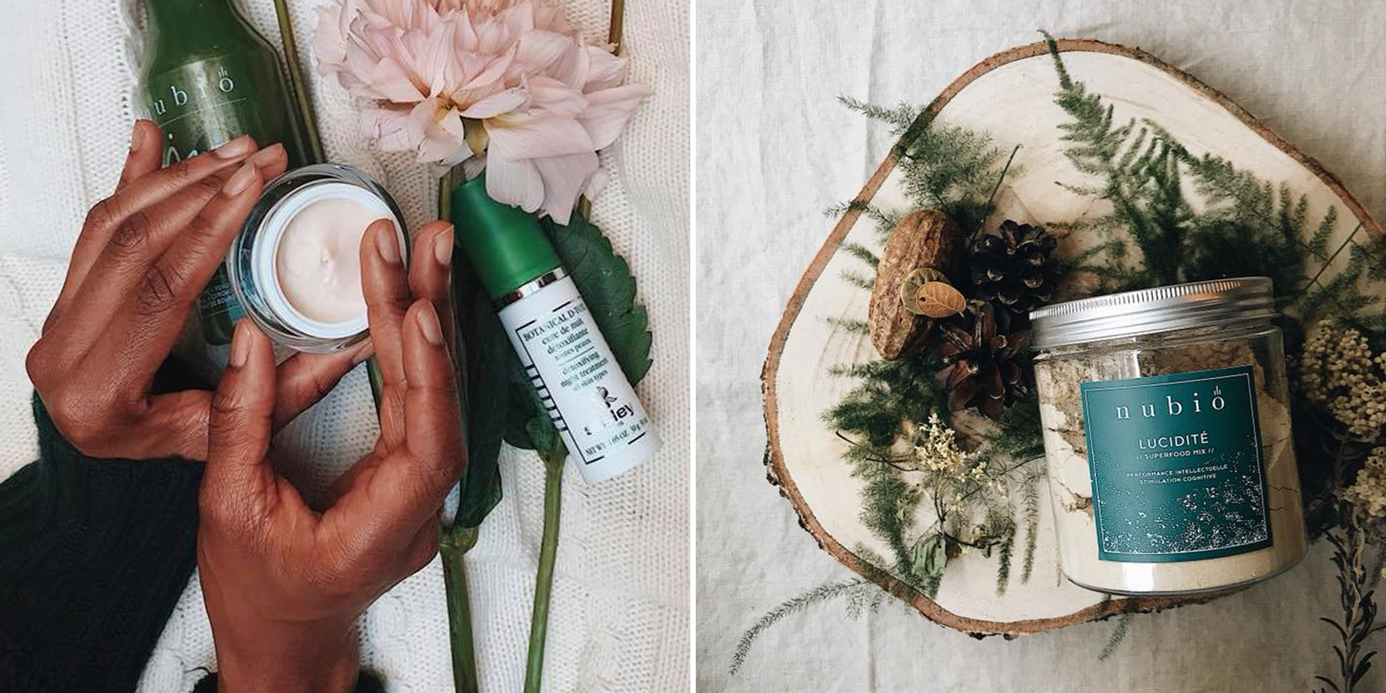 HiP Paris Blog Healthy Living Paris like the clean and green beauty products you can buy at Atelier Nubio (left) and a plant-based detox diet in powder form (right).