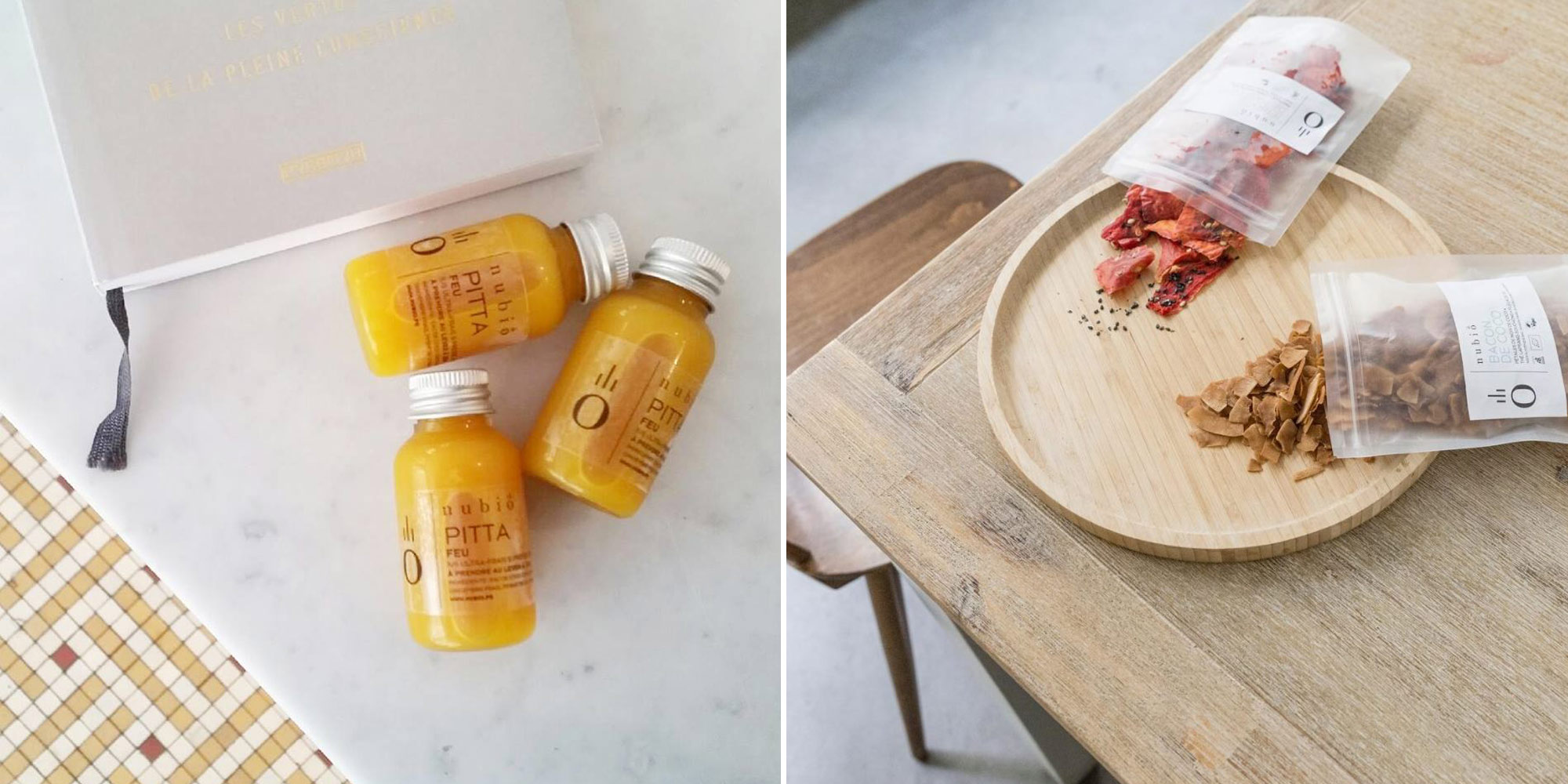 HiP Paris Blog explores healthy living in Paris with a juice detox diet from Atelier Nubio. Three bottles of fresh-pressed juices lying on a marble table above a tiled floor (left). Open packets of dried power food on a wooden table (right).