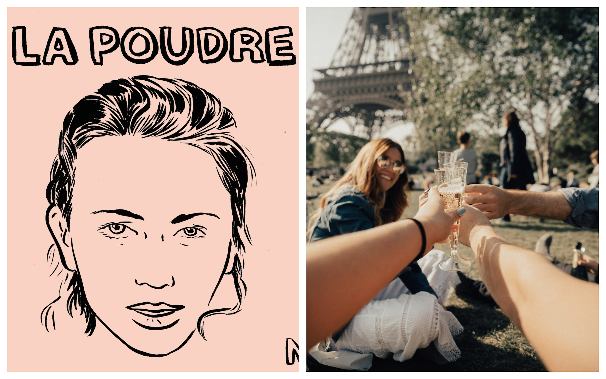 HiP Paris Blog rounds up the top French podcasts like journalist Lauren Bastide's La Poudre (left), which can be enjoyed any time, even on the way to drinks with your friends at the Eiffel Tower (right).