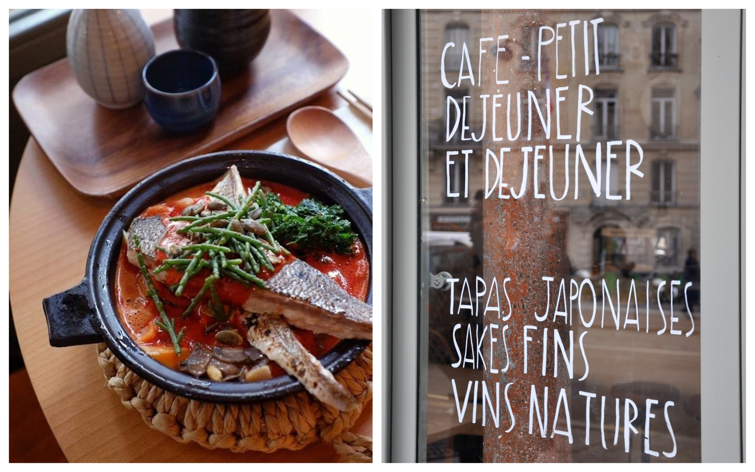 New restaurant in Montmartre, Coutume Izakaya serves delicious Japanese tapas (left) as well as breakfast, as the handwritten sign says on the window (right).