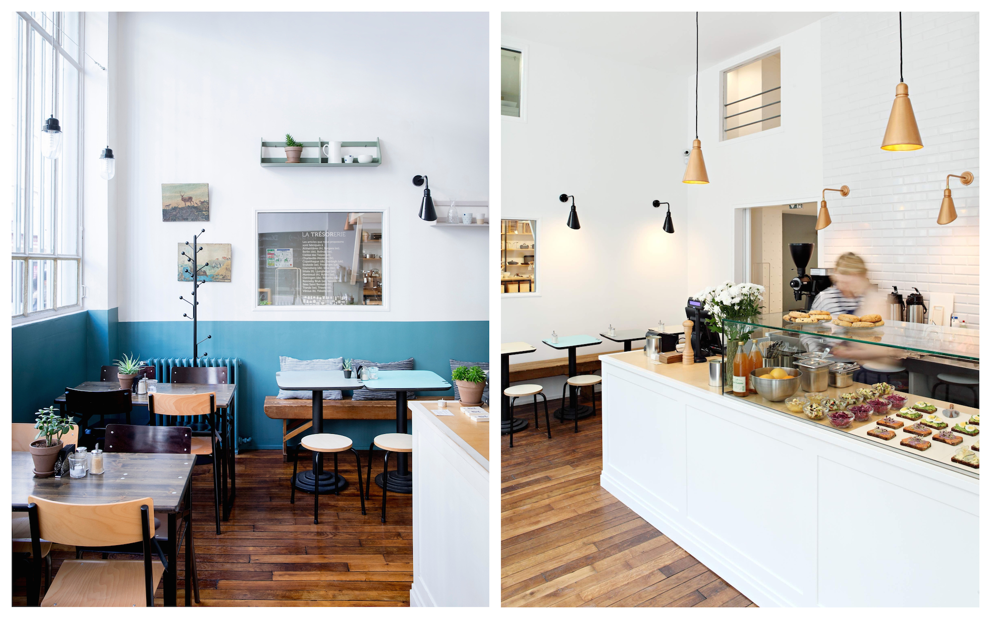 HiP Paris Blog rounds up Paris' best concept store cafes, like the airy and light café at La Trésorerie (left) with its glass counter full of delicious cakes (right).