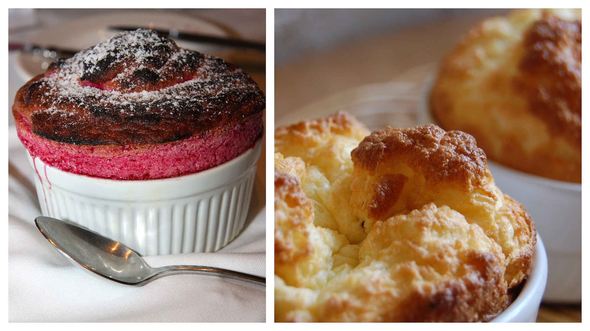 Go to Le Souffle restaurant in Paris for the best fruit (left) or cheese (right) souffles.