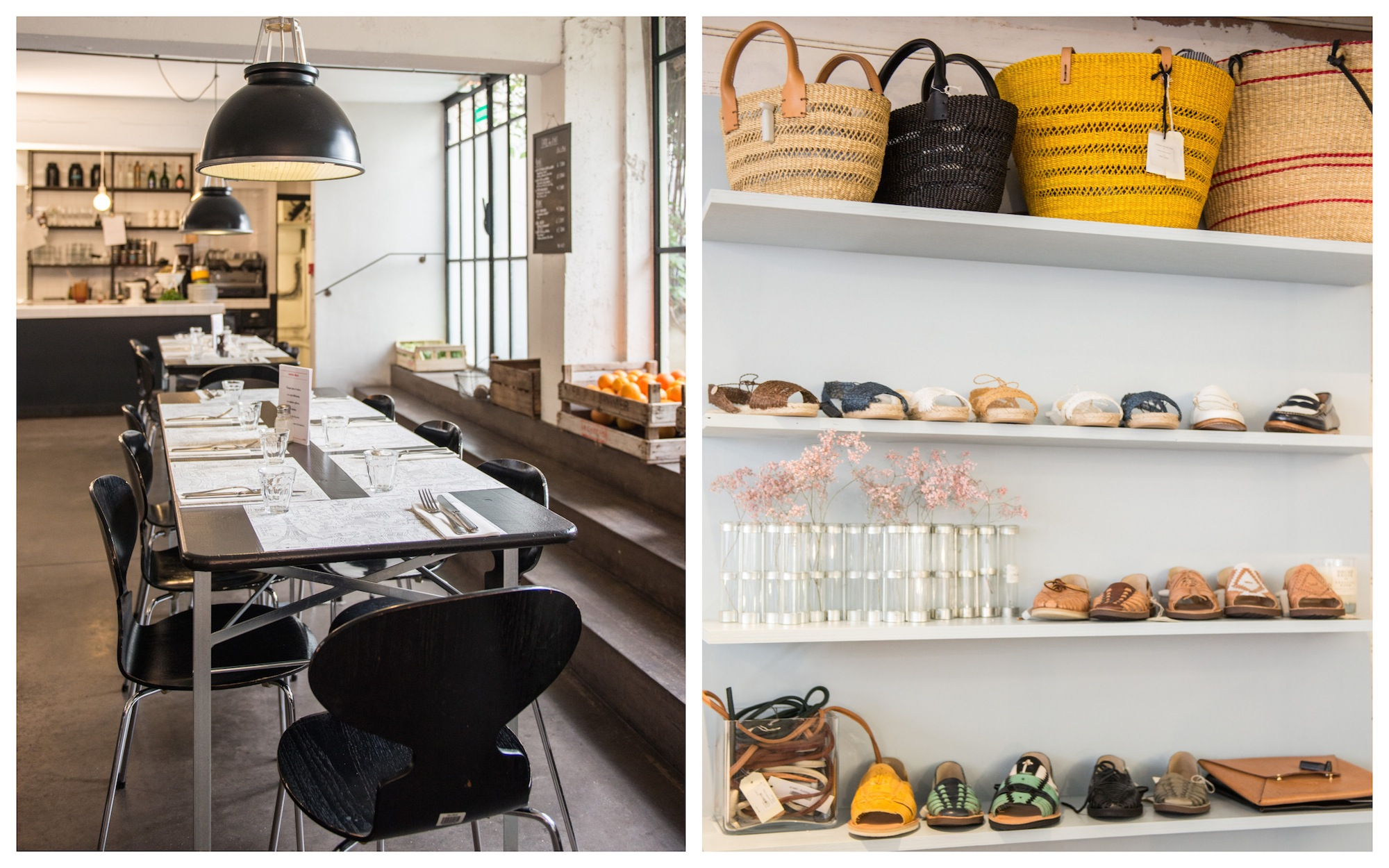 HiP Paris Blog rounds up Paris' best concept store cafes, like at Merci, with its slick black tables and chairs in warehouse style surroundings (left). Baskets and shoes for summer at Merci concept store in Paris (right).