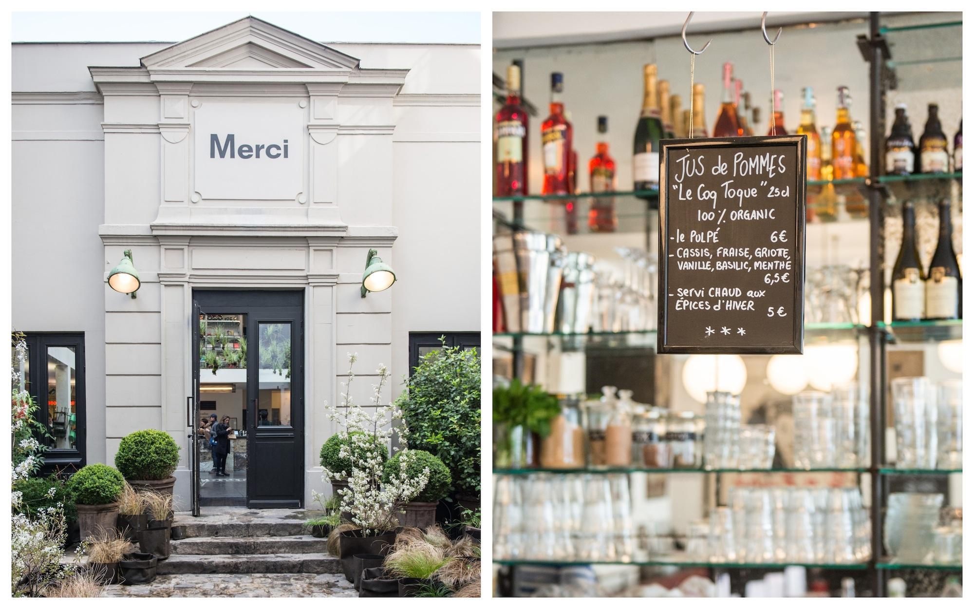 HiP Paris Blog rounds up Paris' best concept store cafes like at Merci in the Marais, with its stone exterior, hidden in a courtyard (left) and its fresh juices from the cafe (right).