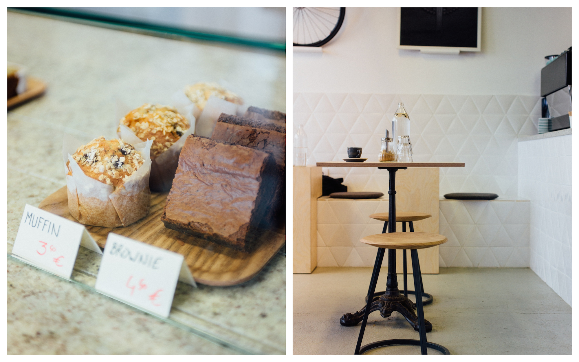 The muffins and chocolate brownies at Steel concept store in Paris (left), and the casual seating area at the concept store's cafe (right).