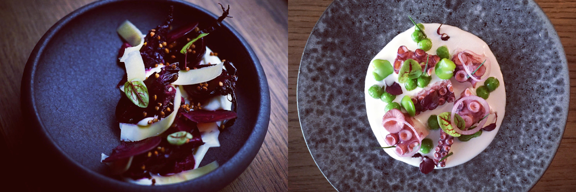 A beetroot small plate at new restaurant Vava in Montmartre (left) and delicious fresh octopus (right).