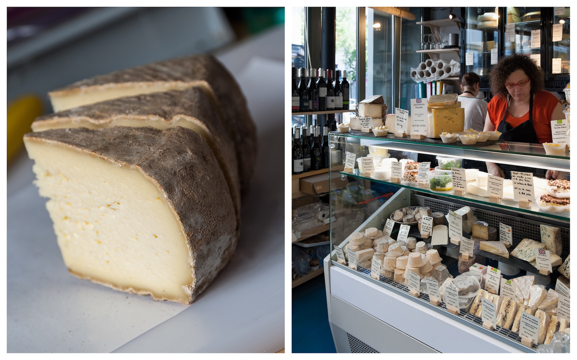 Slices of Saint Nectaire cheese at Pierre Coulon's Paris cheese shop (left). La Laiterie cheese-maker's in Paris and its counter full of cheeses made onsite (right).