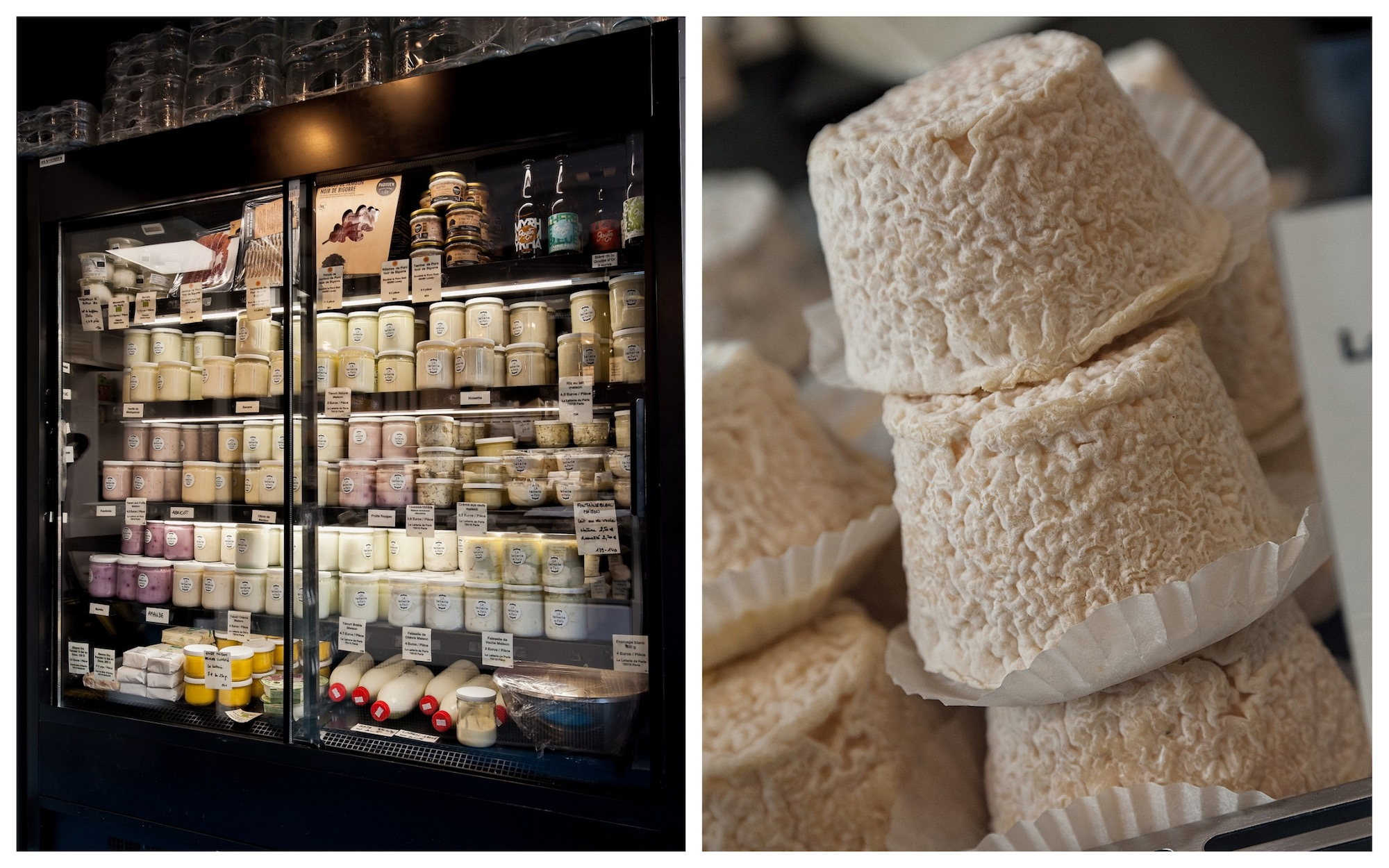 HiP Paris Blog discovers Paris' first cheese dairy La Laiterie de Paris which has lots of fresh goods to choose from in the fridges (left) as well as cheeses like this tasty goat's cheese (right).