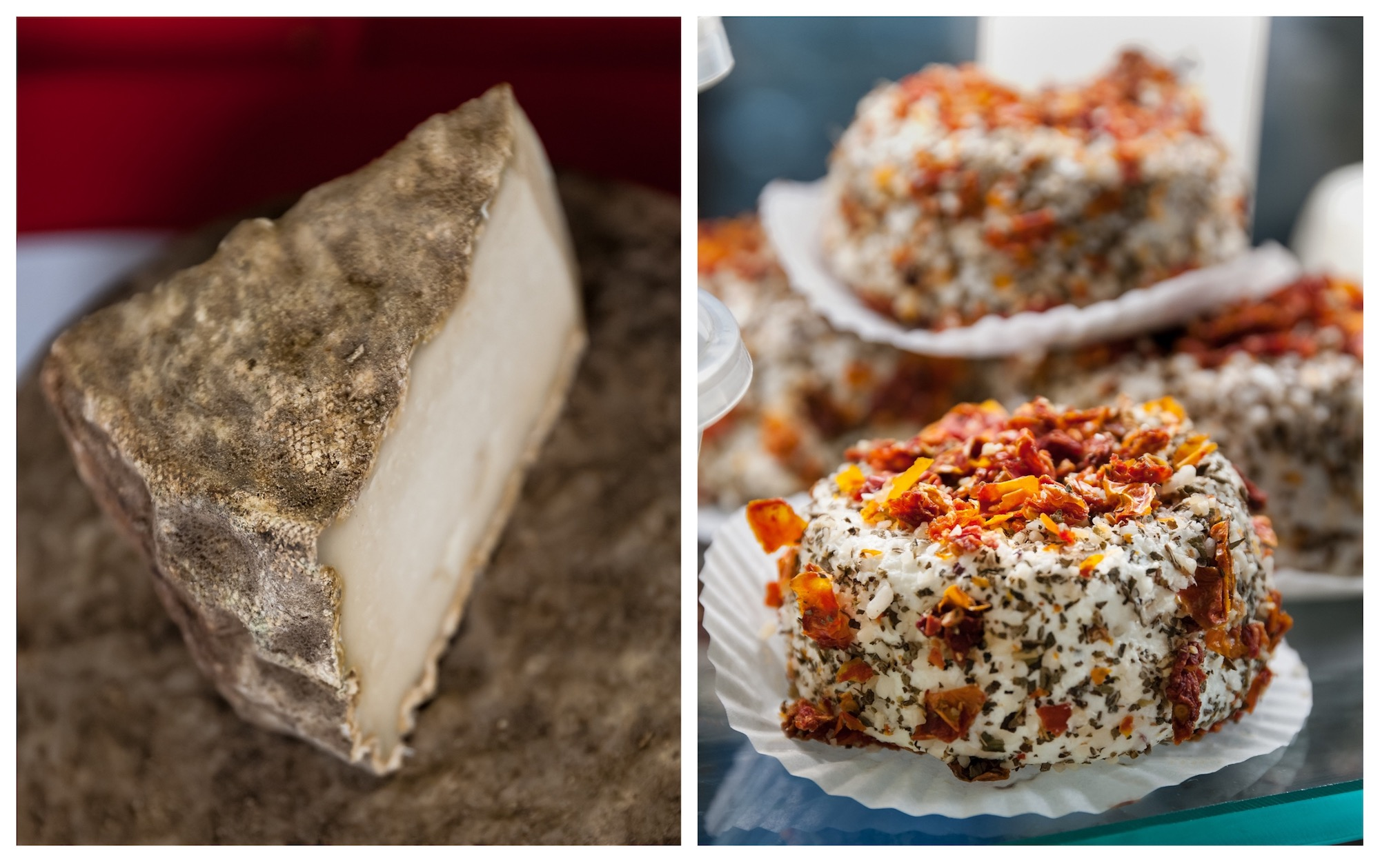 HiP Paris Blog discovers Paris' first cheese dairy La Laiterie de Paris which produces some of the city's finest cheeses like this Saint Nectaire (left) and pepper and dried tomato goat's cheese (right).