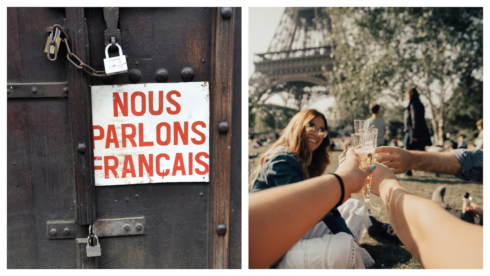 A 'We speak French' sign outside a locked door (left). Friends having a picnic in Paris with Eiffel Tower views (right).