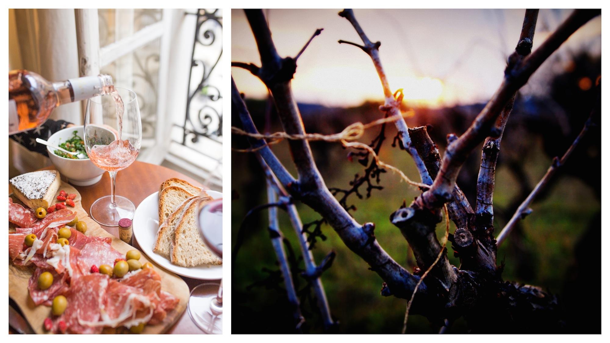 Living in the French countryside is about fresh ham and cheese aperitifs (left) and sunset walks in nature (right).