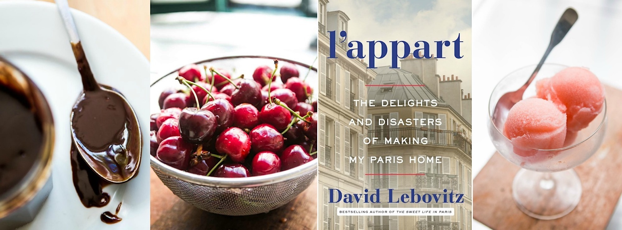 Book talks in April in Paris, include one at the American Library with American foodie and author David Lebovitz. who loves chocolate, cherries and sorbet.