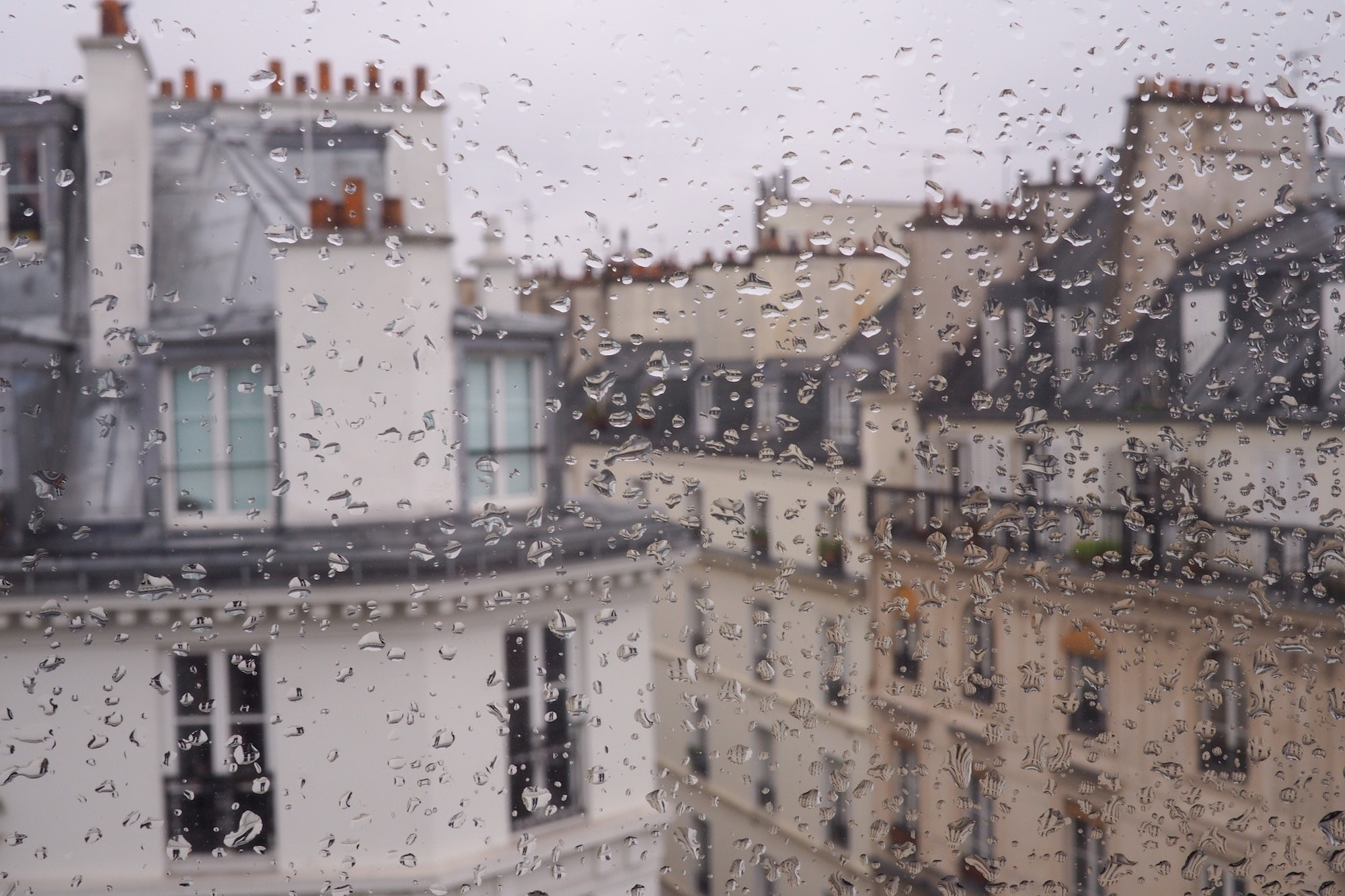 The view of Paris rooftops out of a rain-speckled window in April.