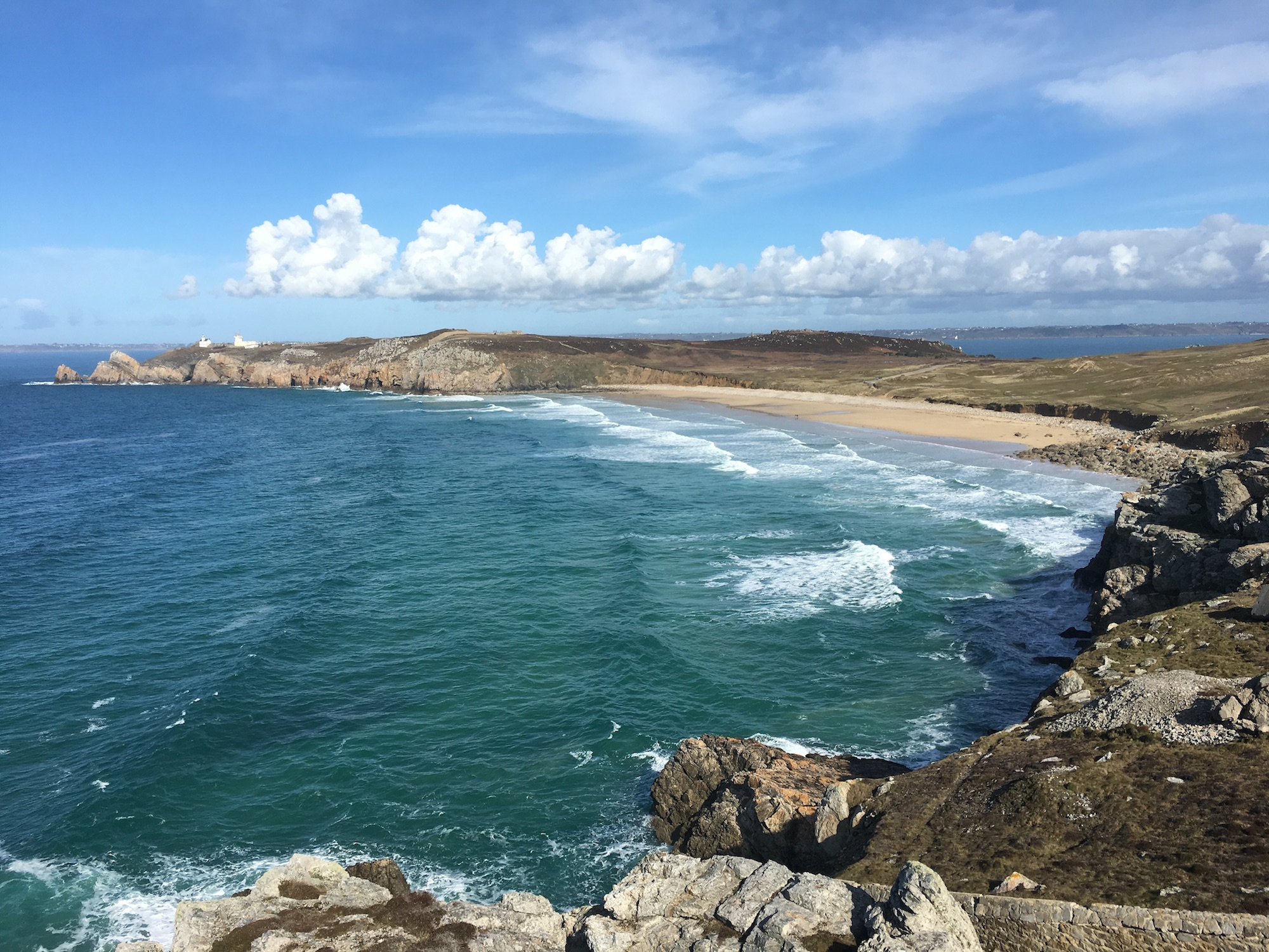 Some of France's most beautiful beaches are in Brittany, like this long sandy beach with turquoise waters.