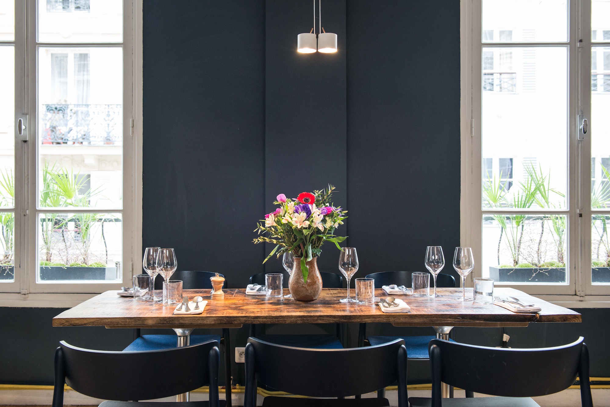 Belle Maison is the little sister of two other celebrated restaurants in the 9th arrondissement- Le Pantruche and Caillebotte- and it has quickly garnered a faithful following of its own, with diners who appreciate the small inventive menu and calming décor.