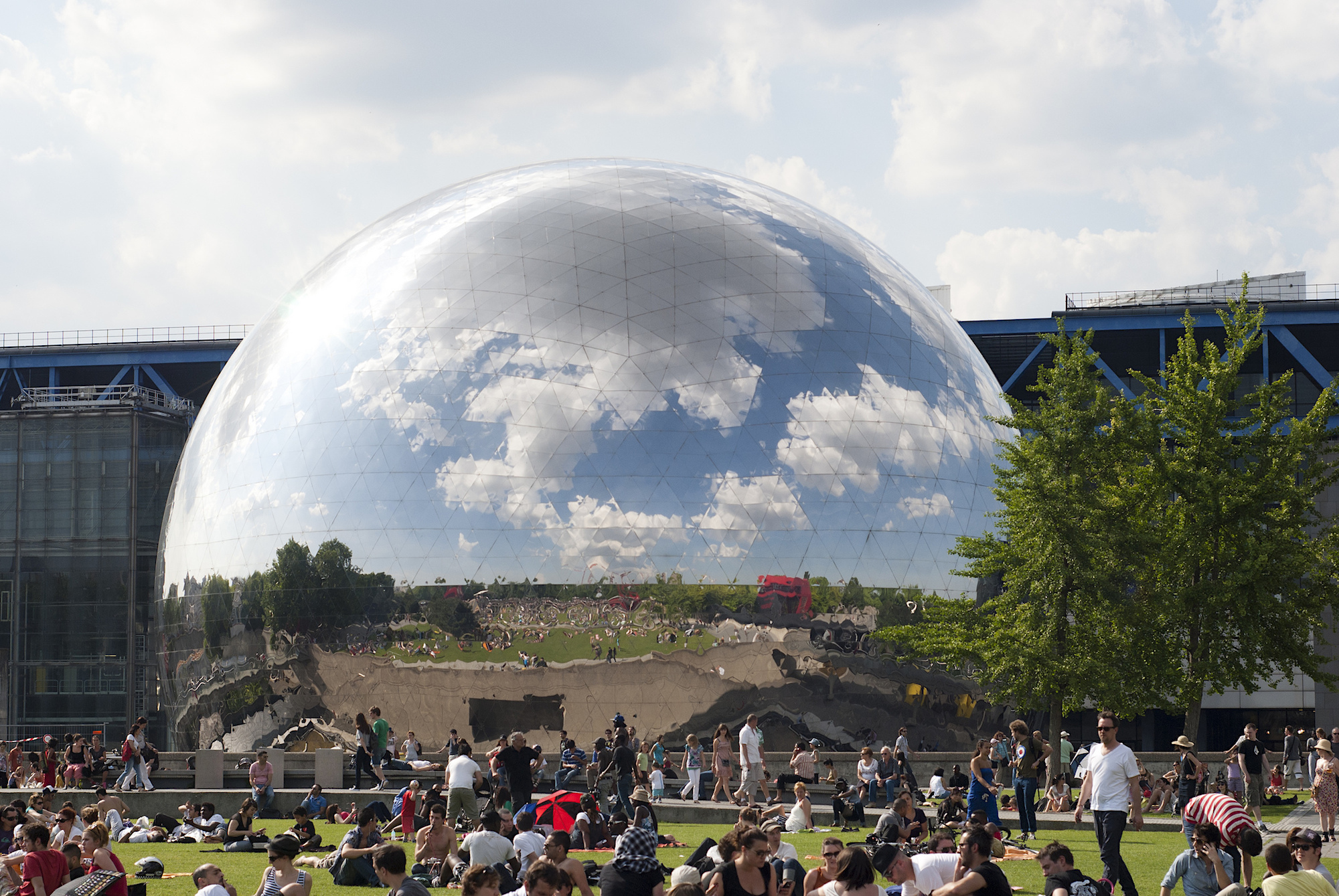 Paris in May is about music festivals like the Villette Sonique electonic music festival in a park close to the 3D cinema, a huge silver ball.