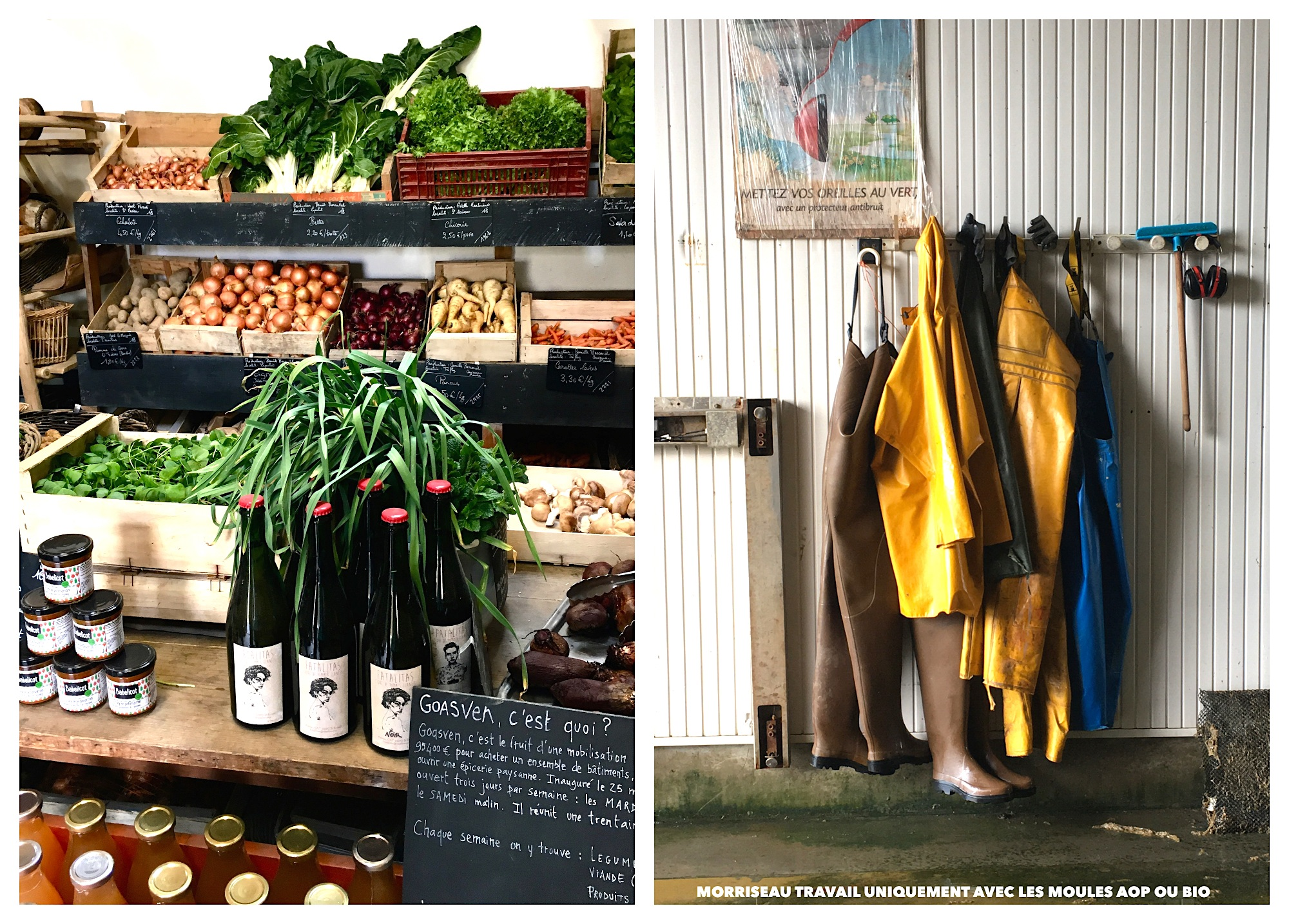 Here are our favorite Breton sights and the artisanal gastronomic flavors that accompany them. A market stand selling fresh vegetables and cider (left). A beachside cabin with yellow raincoats and wellies (right).